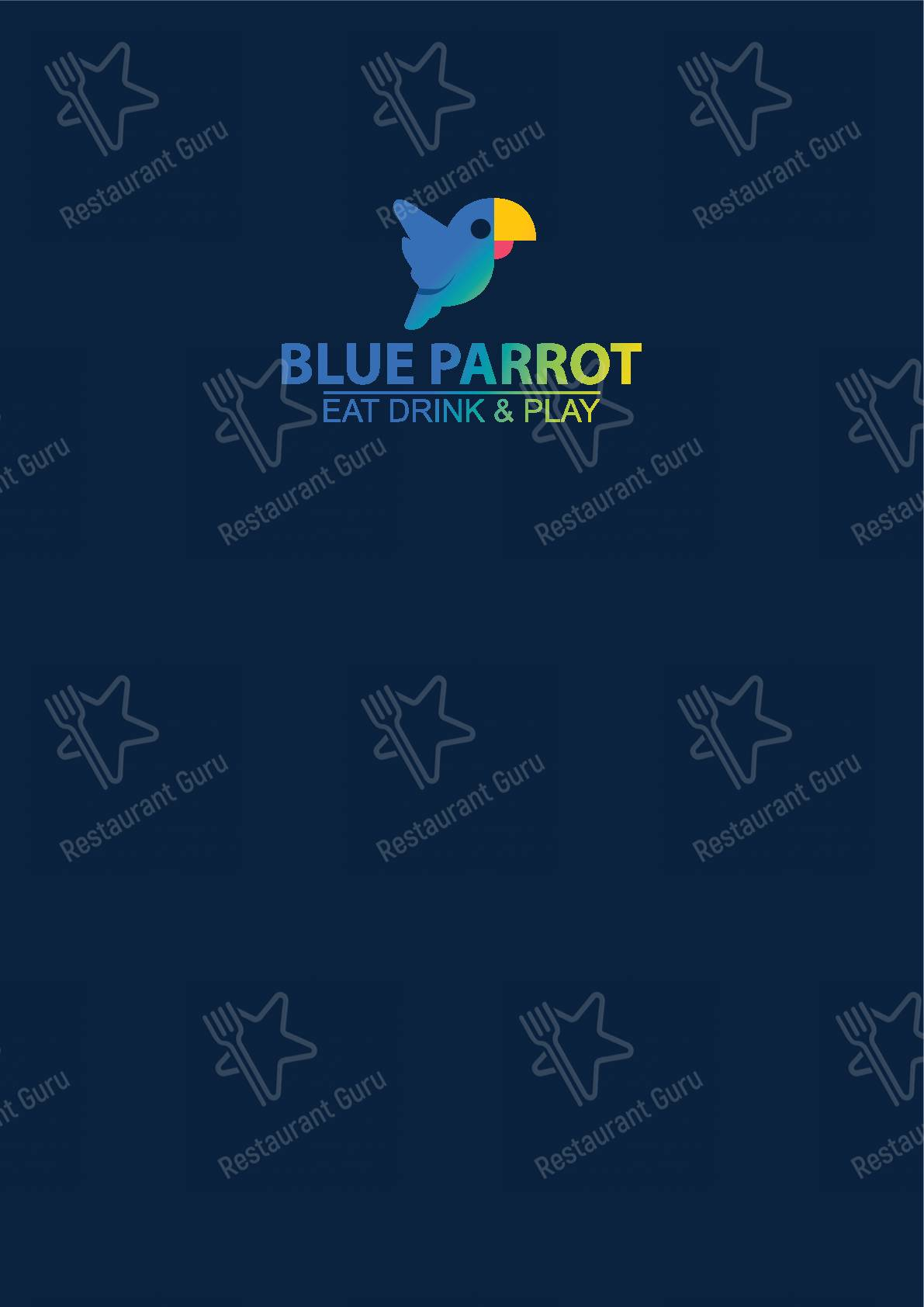 Blue Parrot menu - meals and drinks