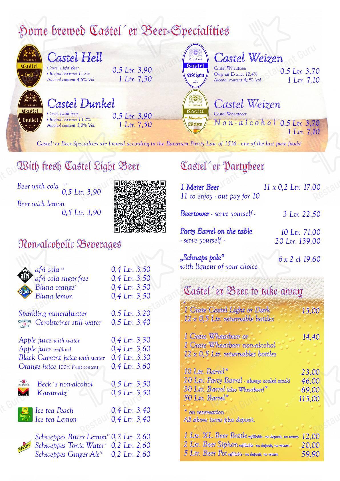 Brauhaus Castel Speisekarte - Essen und Getränke