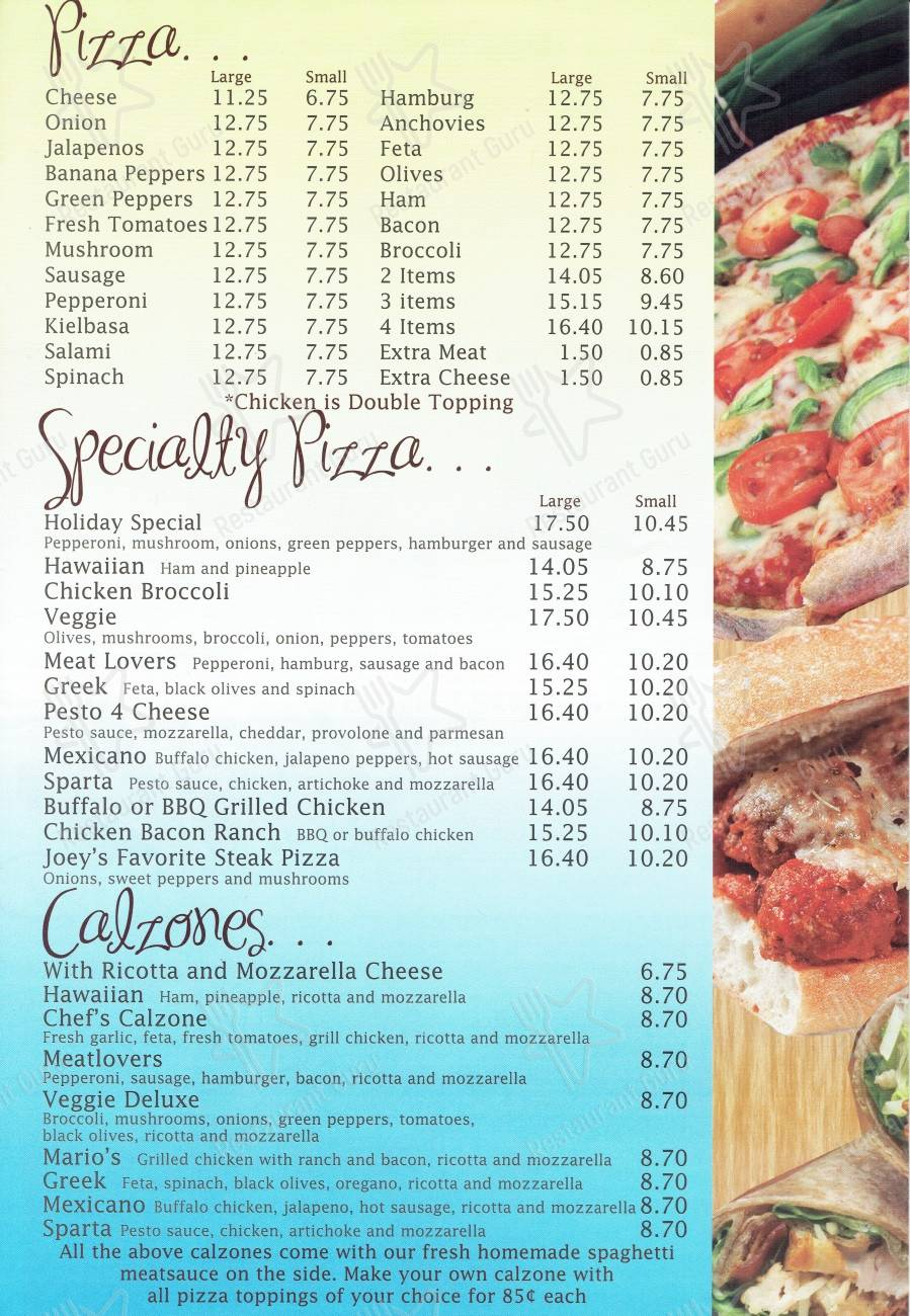 Holiday Pizza menu - dishes and beverages