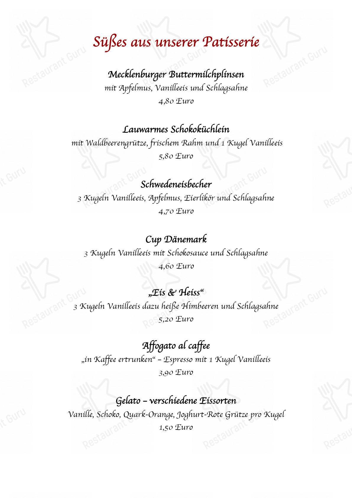 Speisekarte von Tarnewitzer Hof