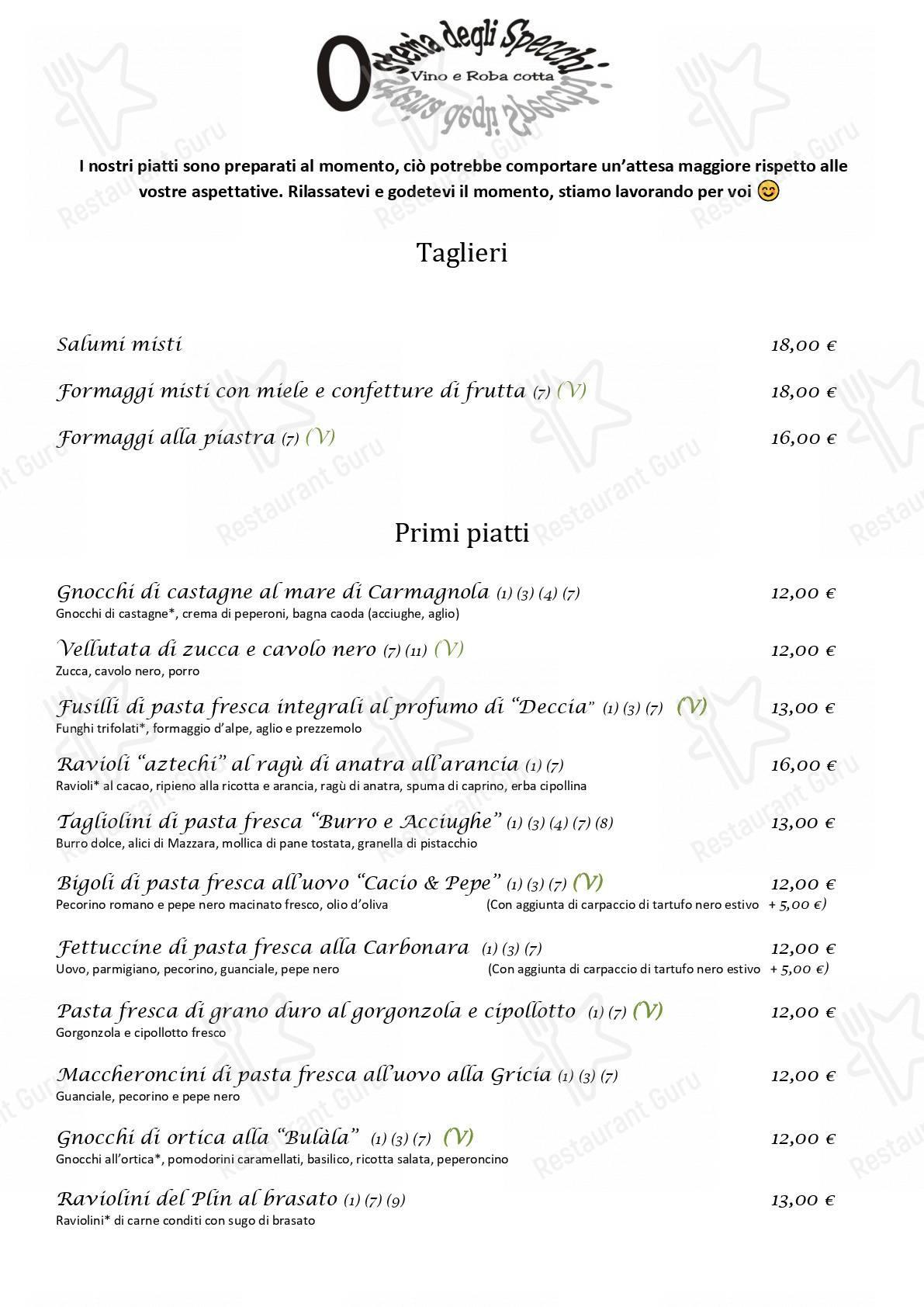 Check out the menu for osteria degli specchi