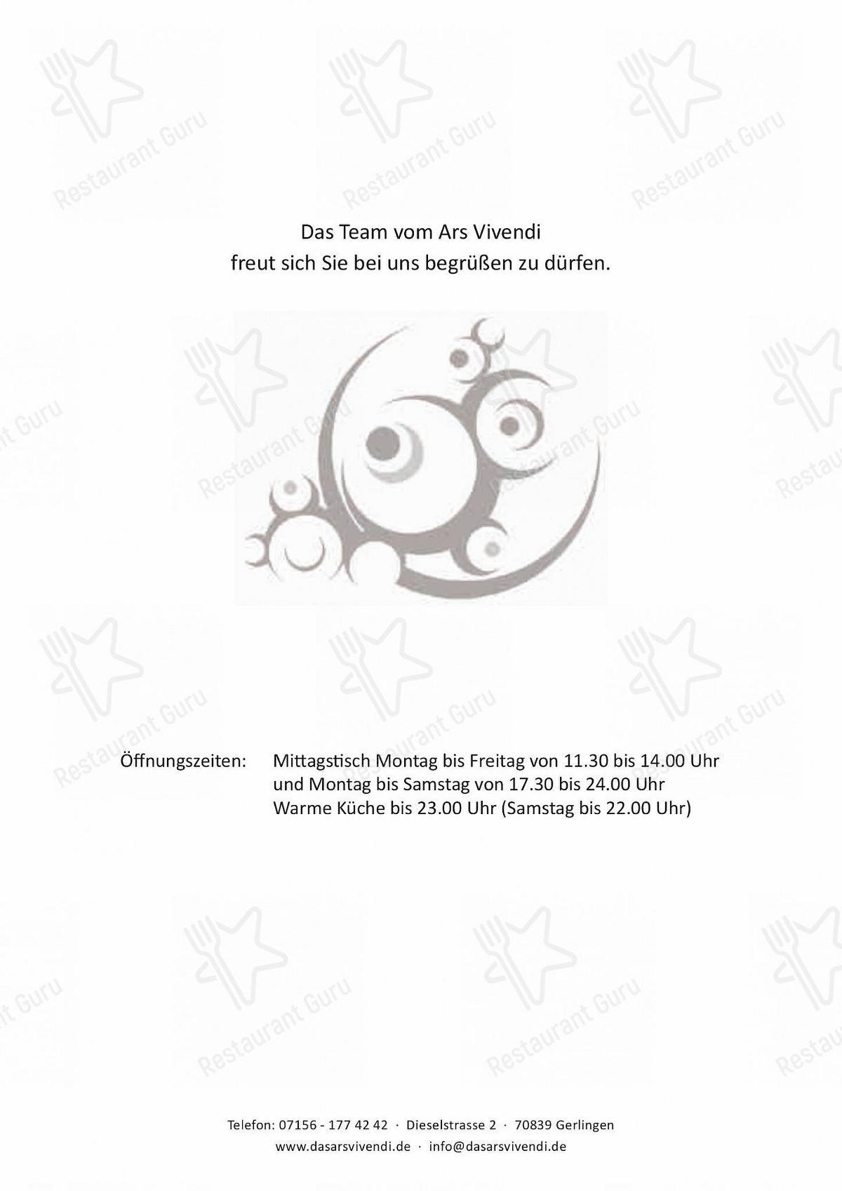 Ars Vivendi Speisekarte - Gerichte und Getränke