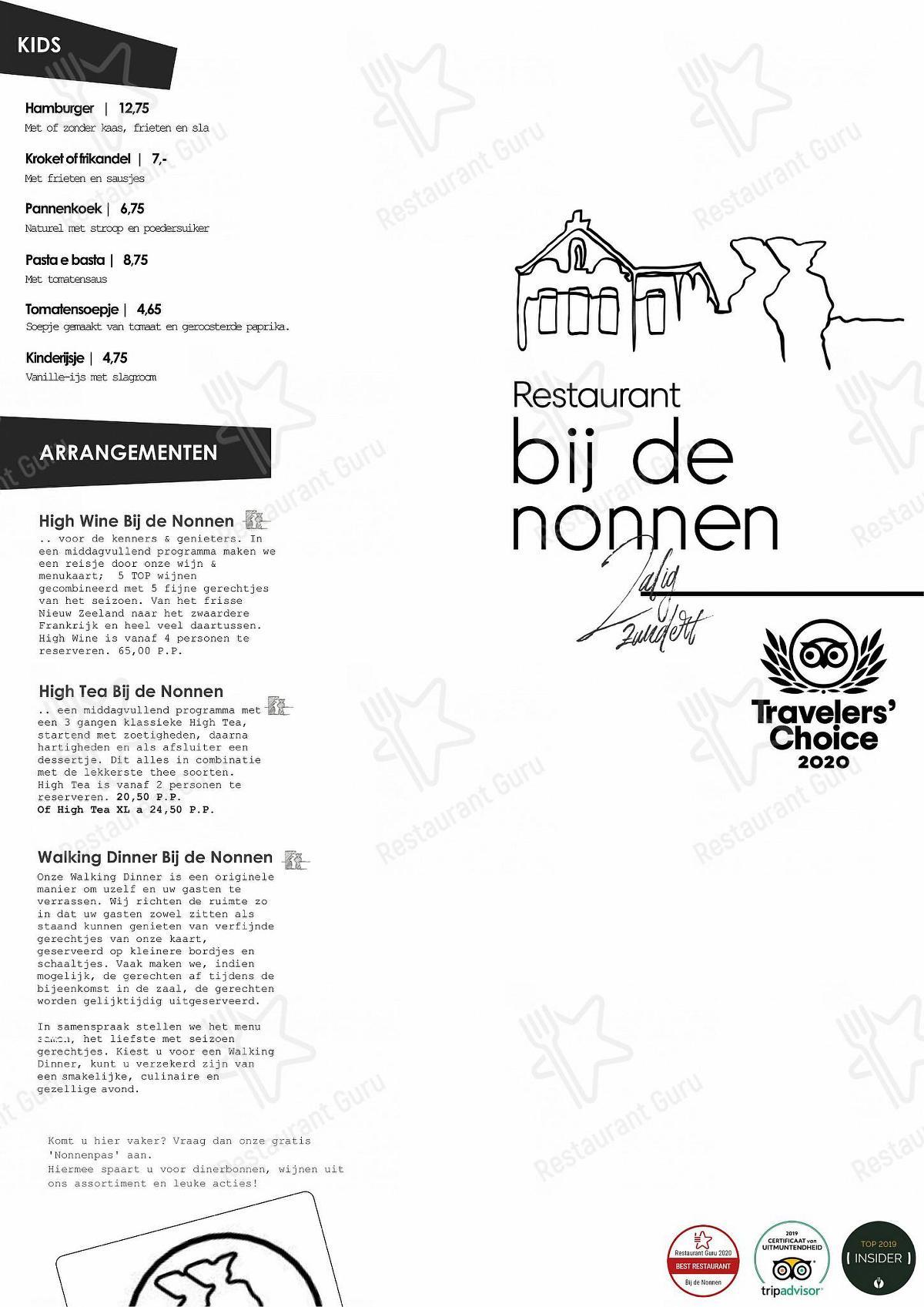 Check out the menu for Bij de Nonnen