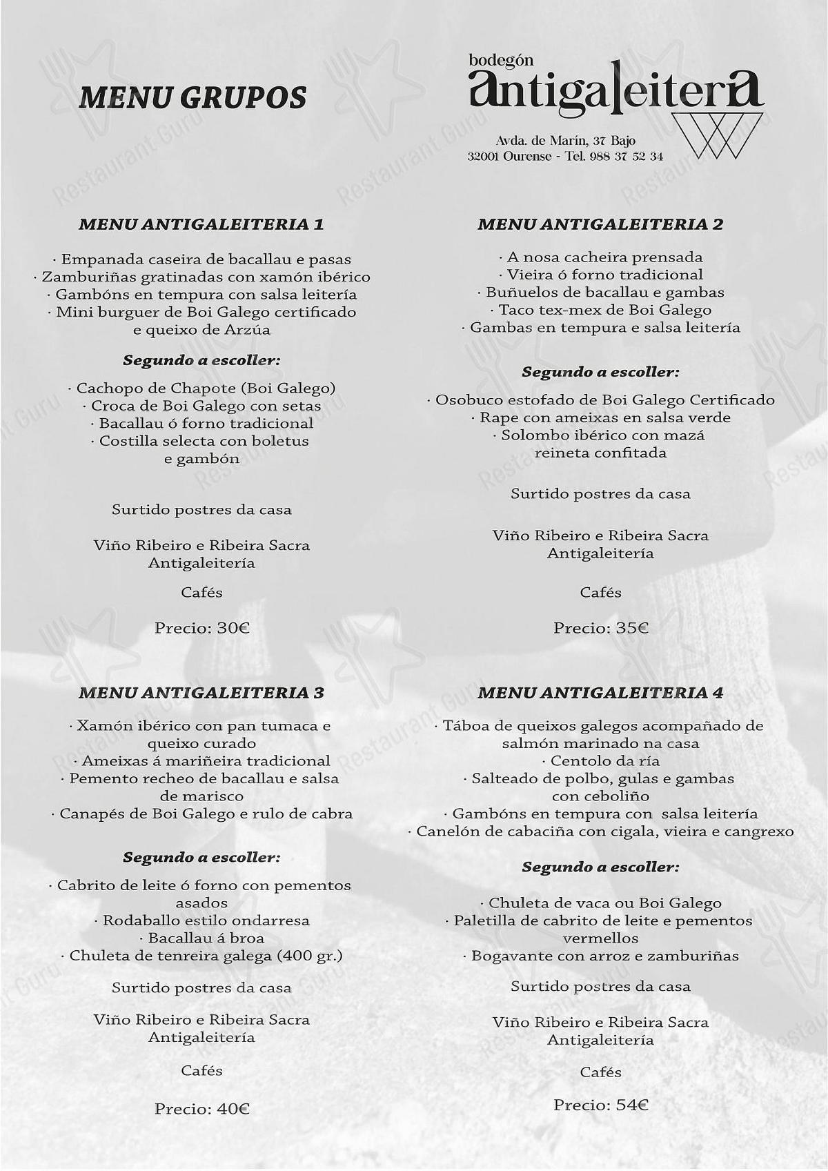 Carta de Bodegón Antiga Leitería restaurante