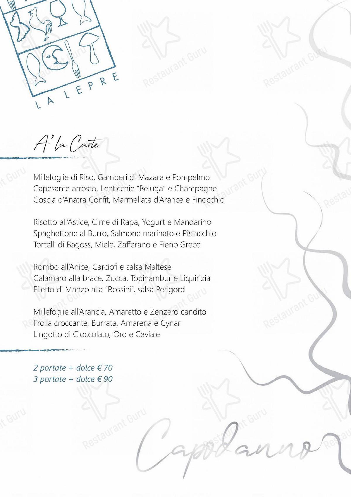 Menu di La Lepre Ristorante - pasti e bevande