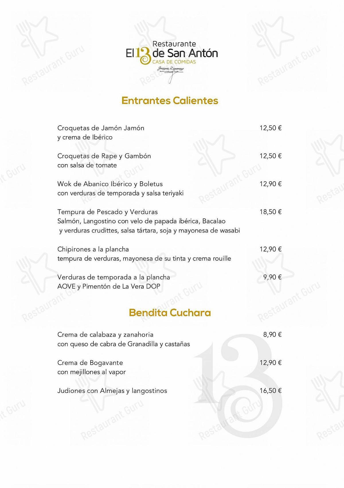 Carta de Restaurante El 13 de San Antón