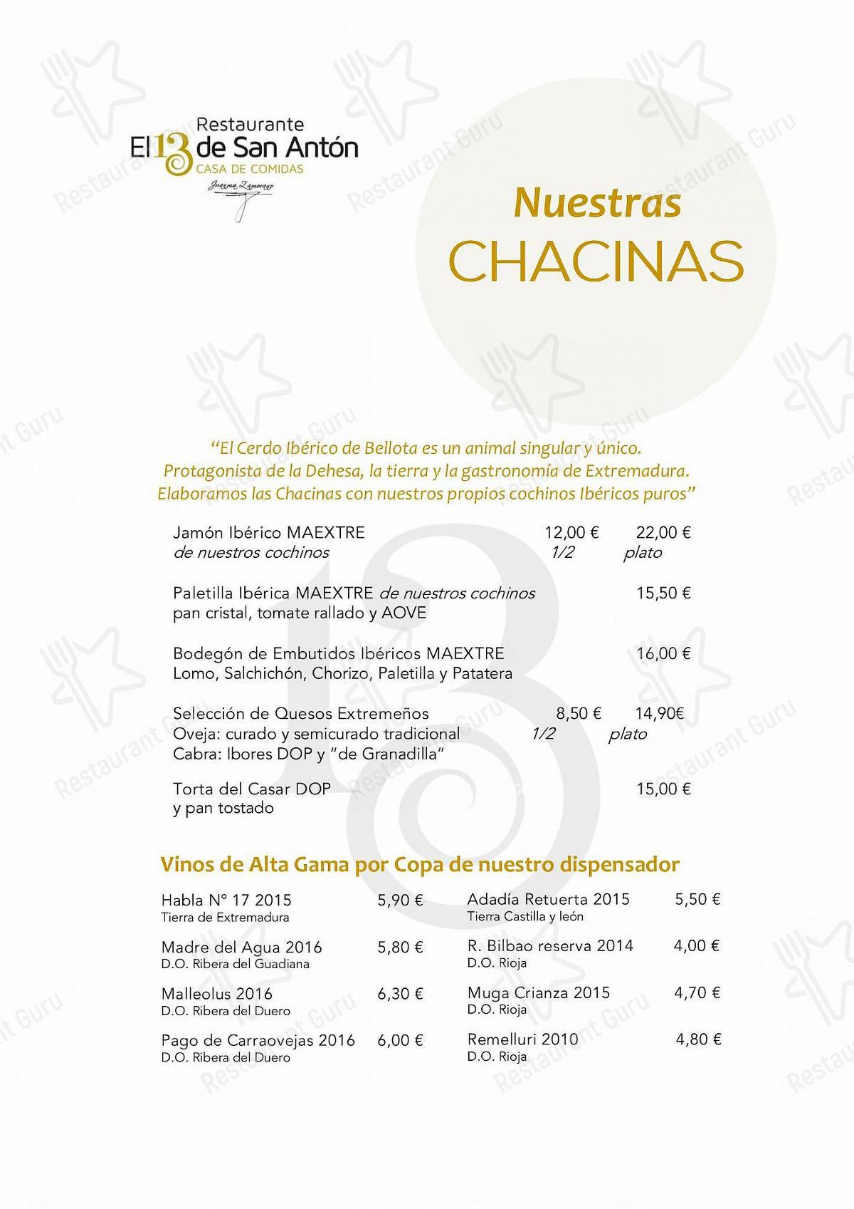 Carta de Restaurante El 13 de San Antón - platos y bebidas