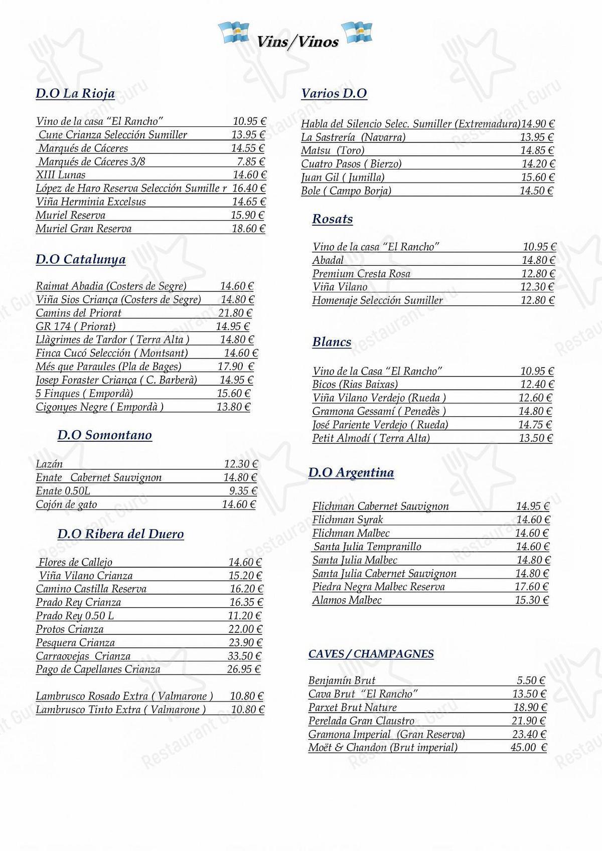 El Rancho Asador Argentino menu - dishes and beverages