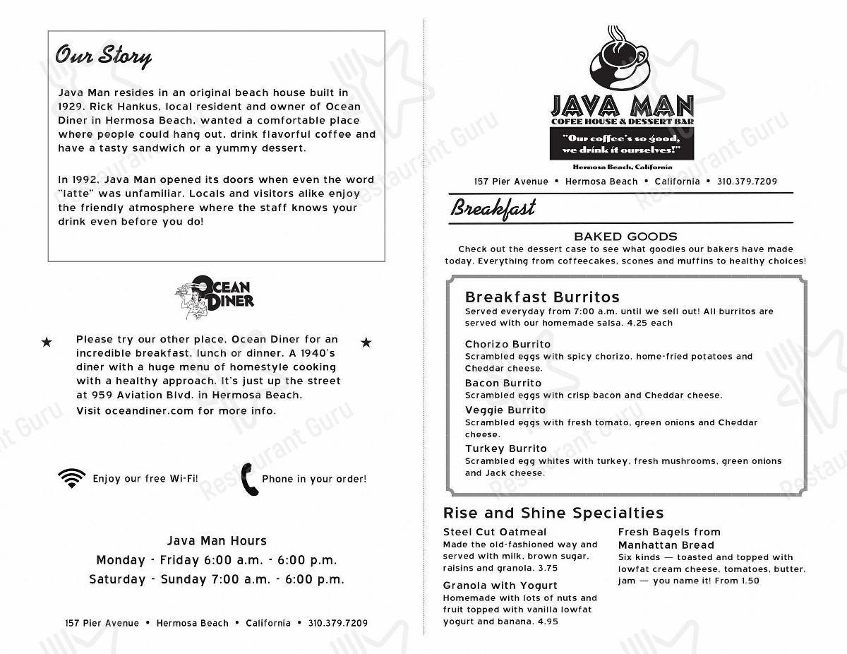 Java Man menu - dishes and beverages