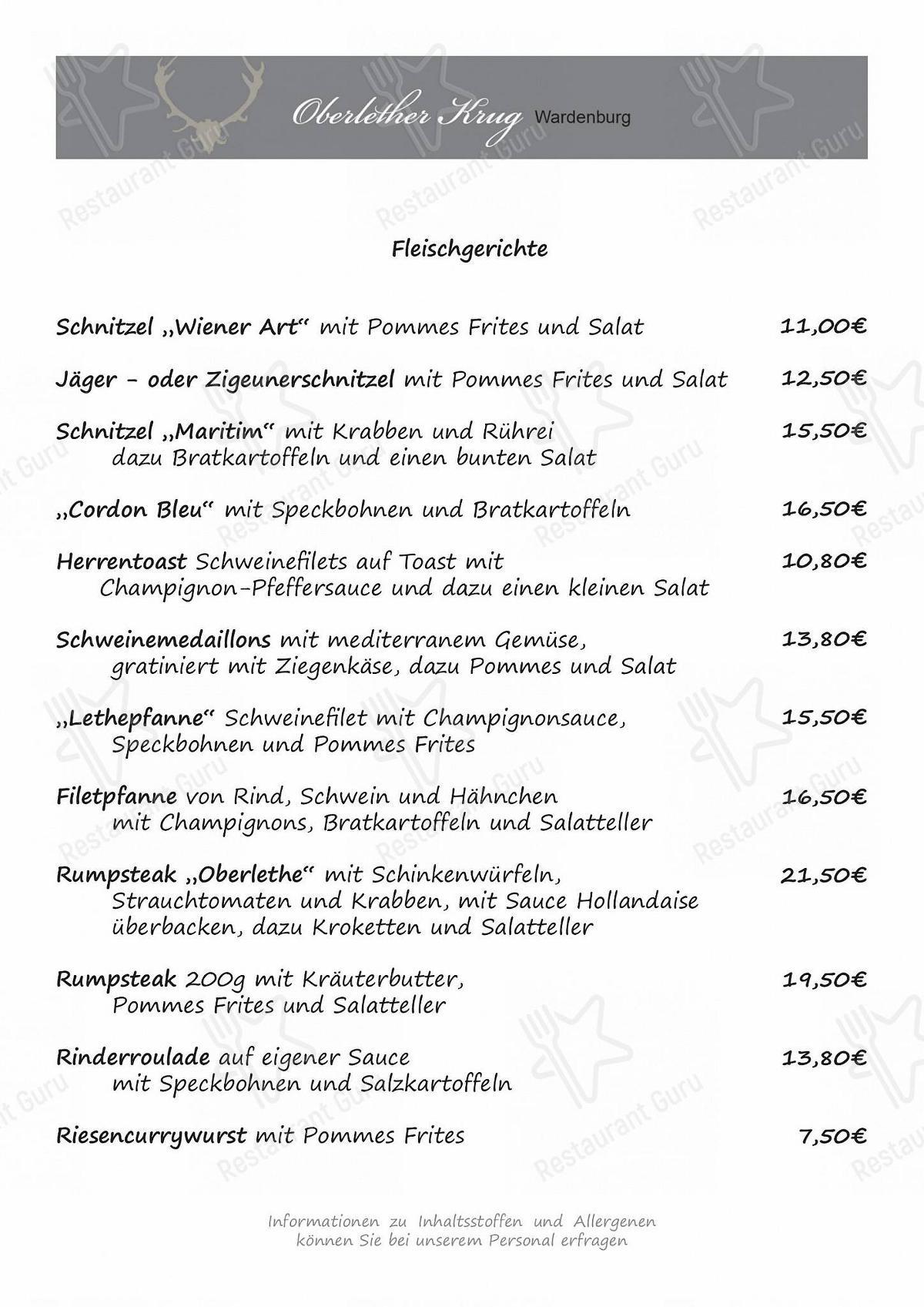 Oberlether Krug Speisekarte - Essen und Getränke