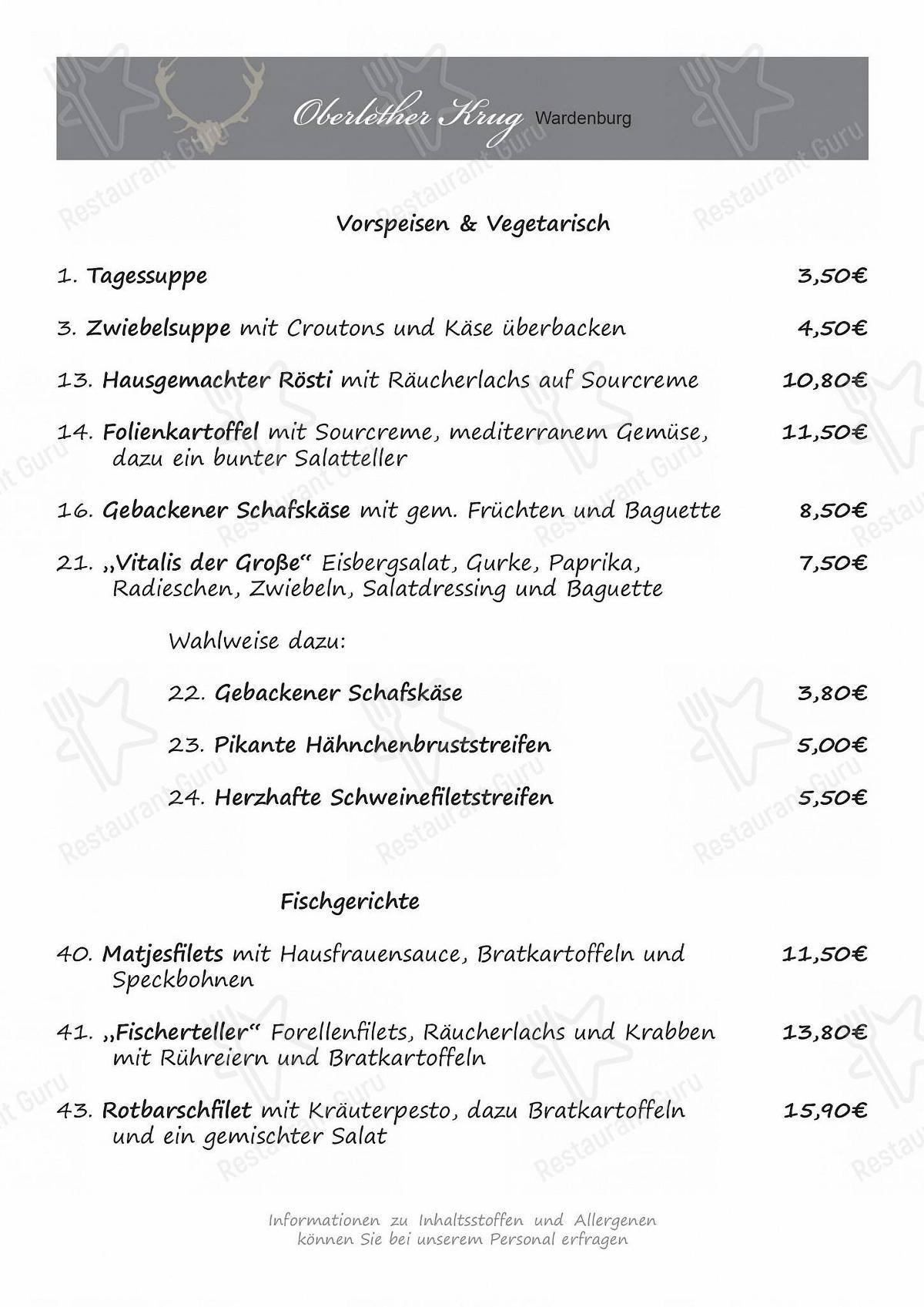 Oberlether Krug Speisekarte