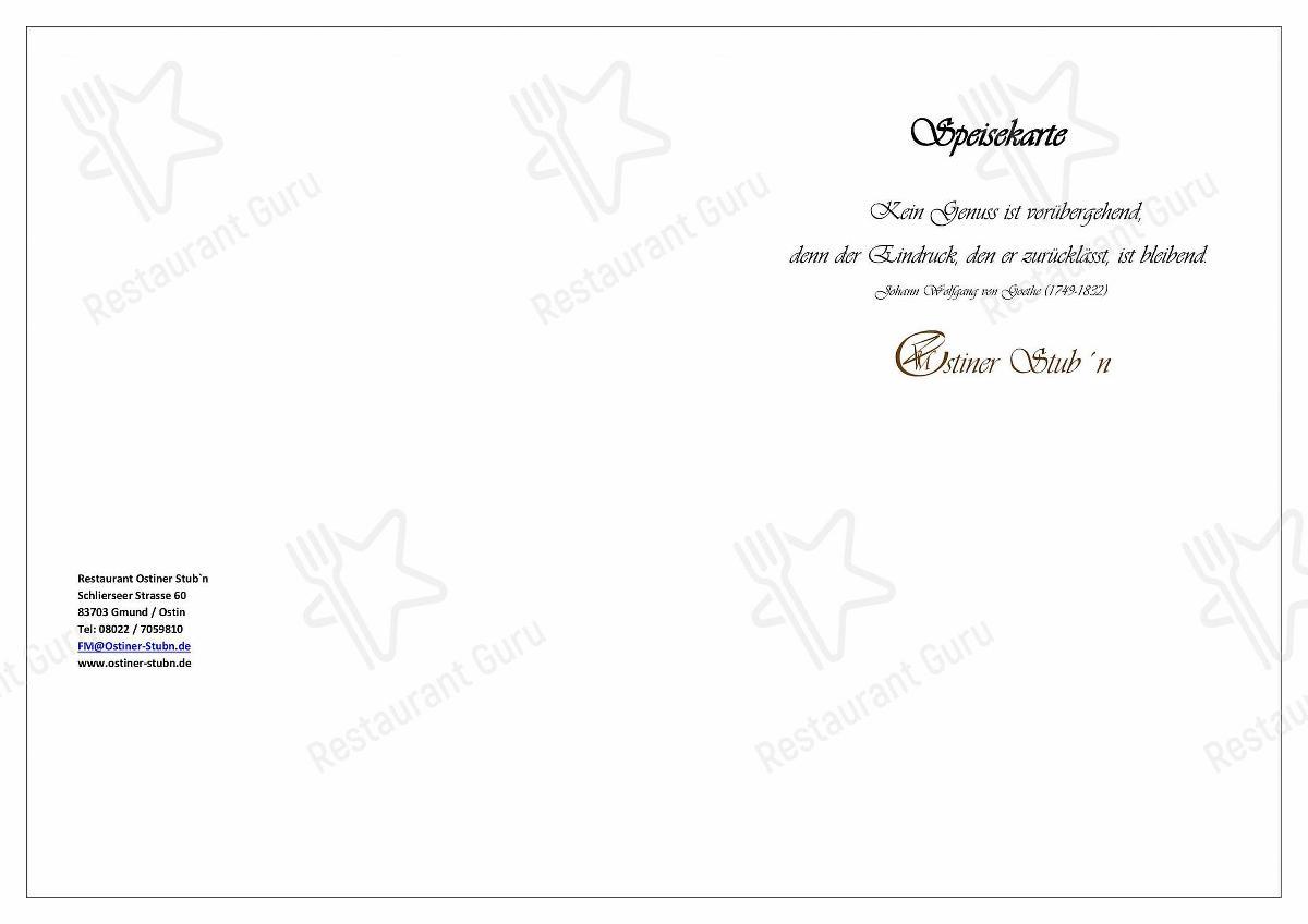 Ostiner Stub'n Speisekarte - Gerichte und Getränke