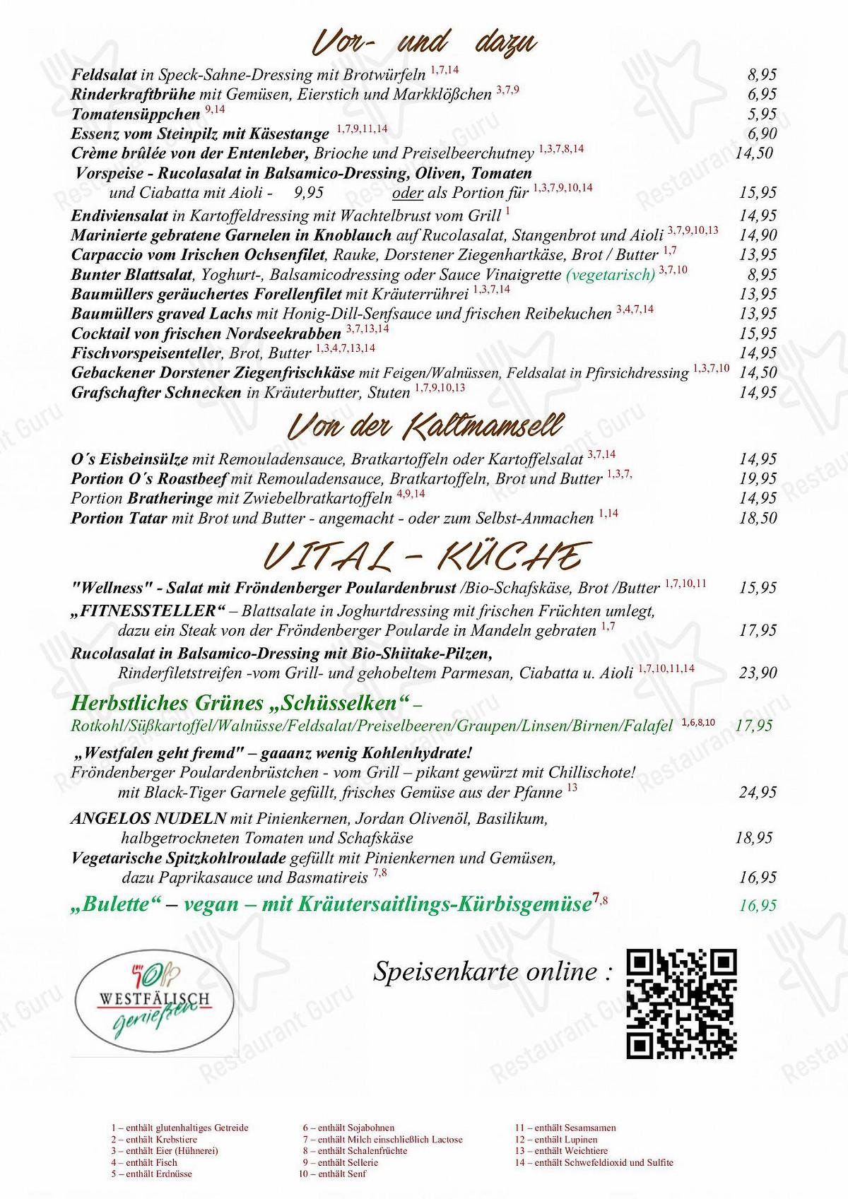 Menu pour Overkamp - repas et boissons