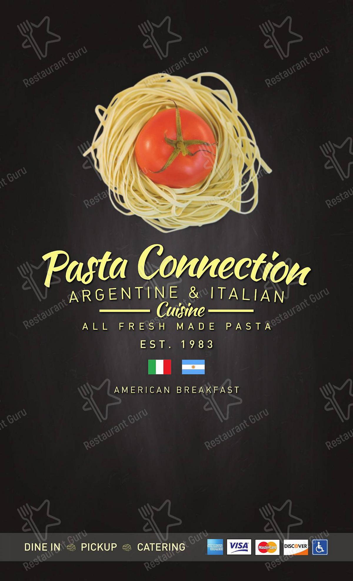 Dinner Menu for the Pasta Connection pizzeria