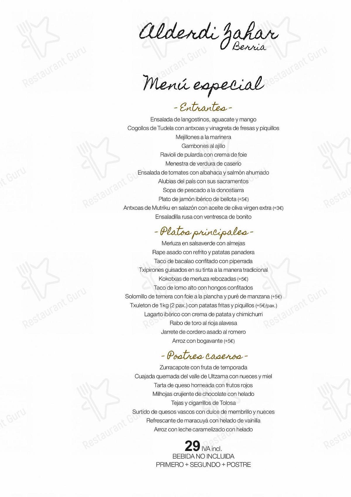 Carta de Aralar - platos y bebidas
