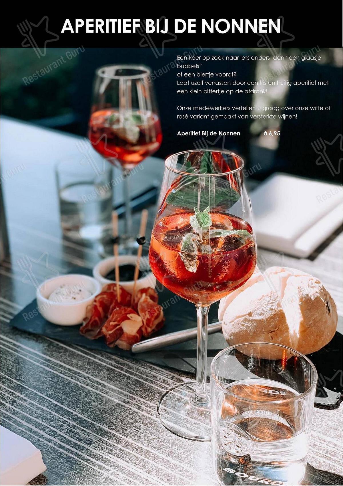 Bij de Nonnen menu - meals and drinks