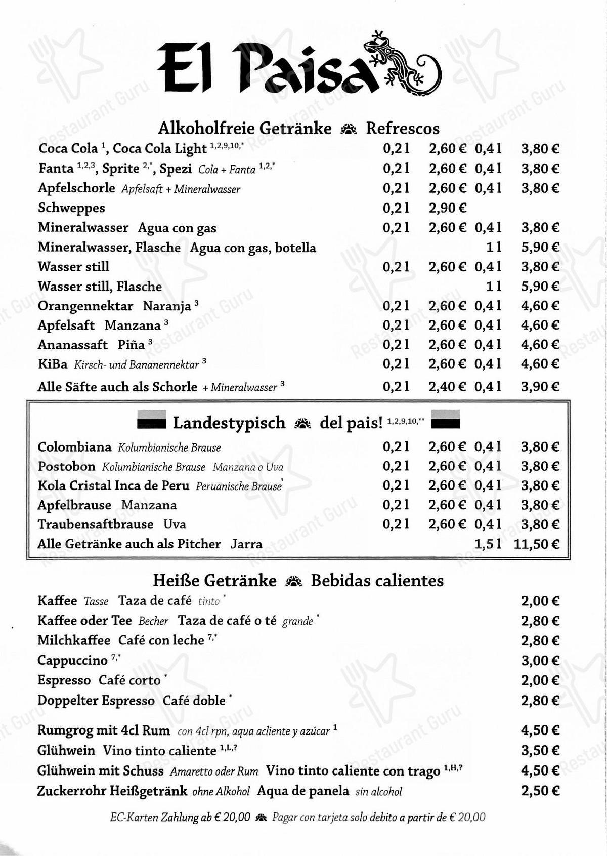 El Paisa Speisekarte - Essen und Getränke