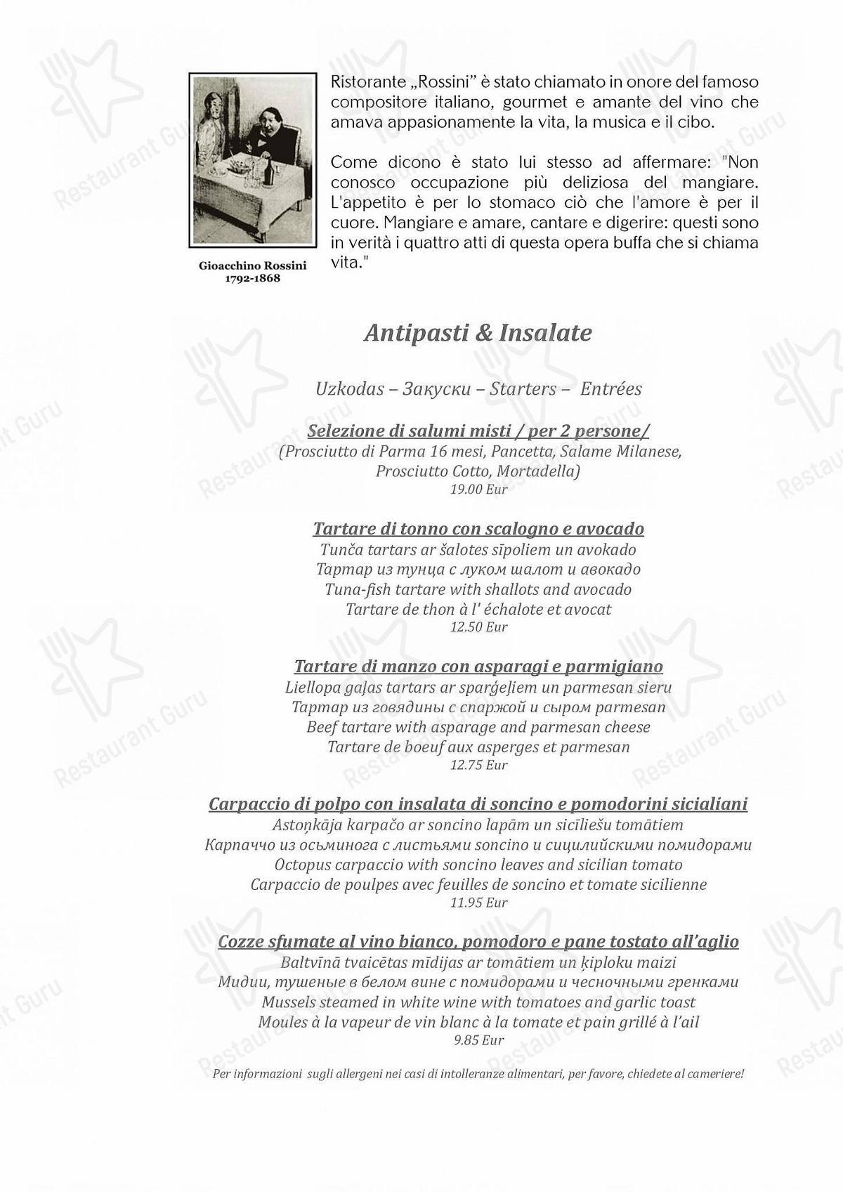 Guarda il menu di Rossini