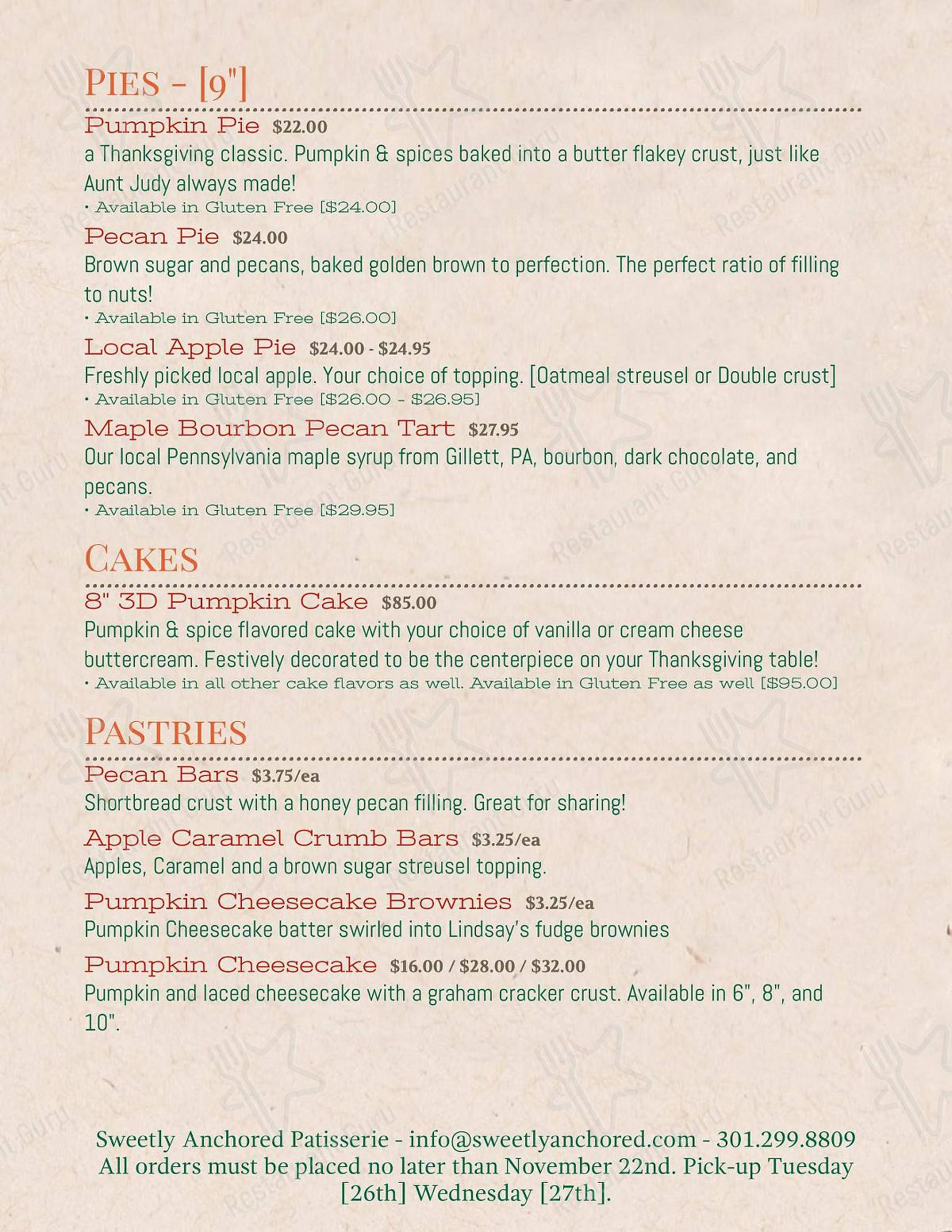 Menu for the Sweetly Anchored Patisserie desserts