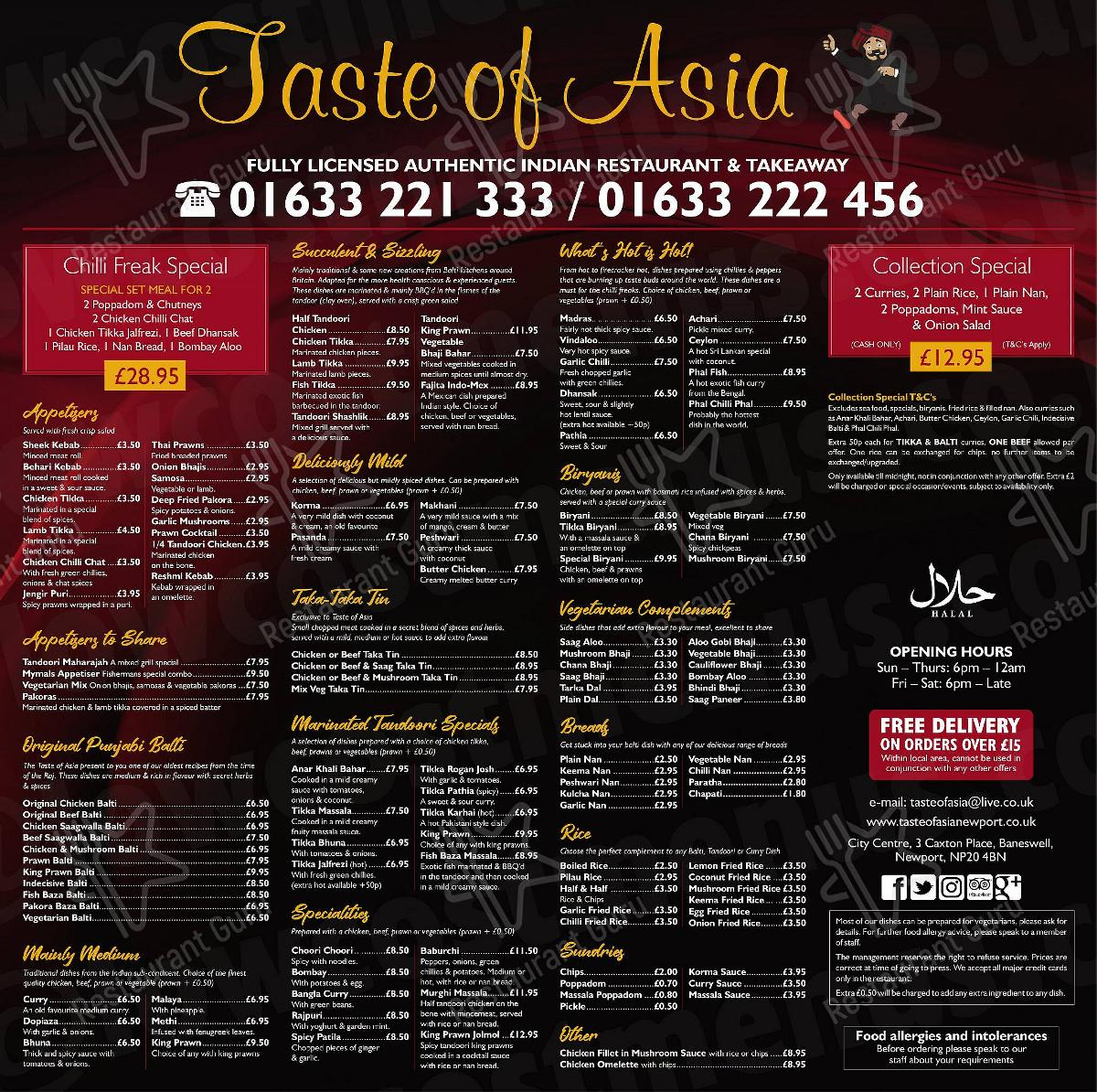 Taste of Asia menu - dishes and beverages