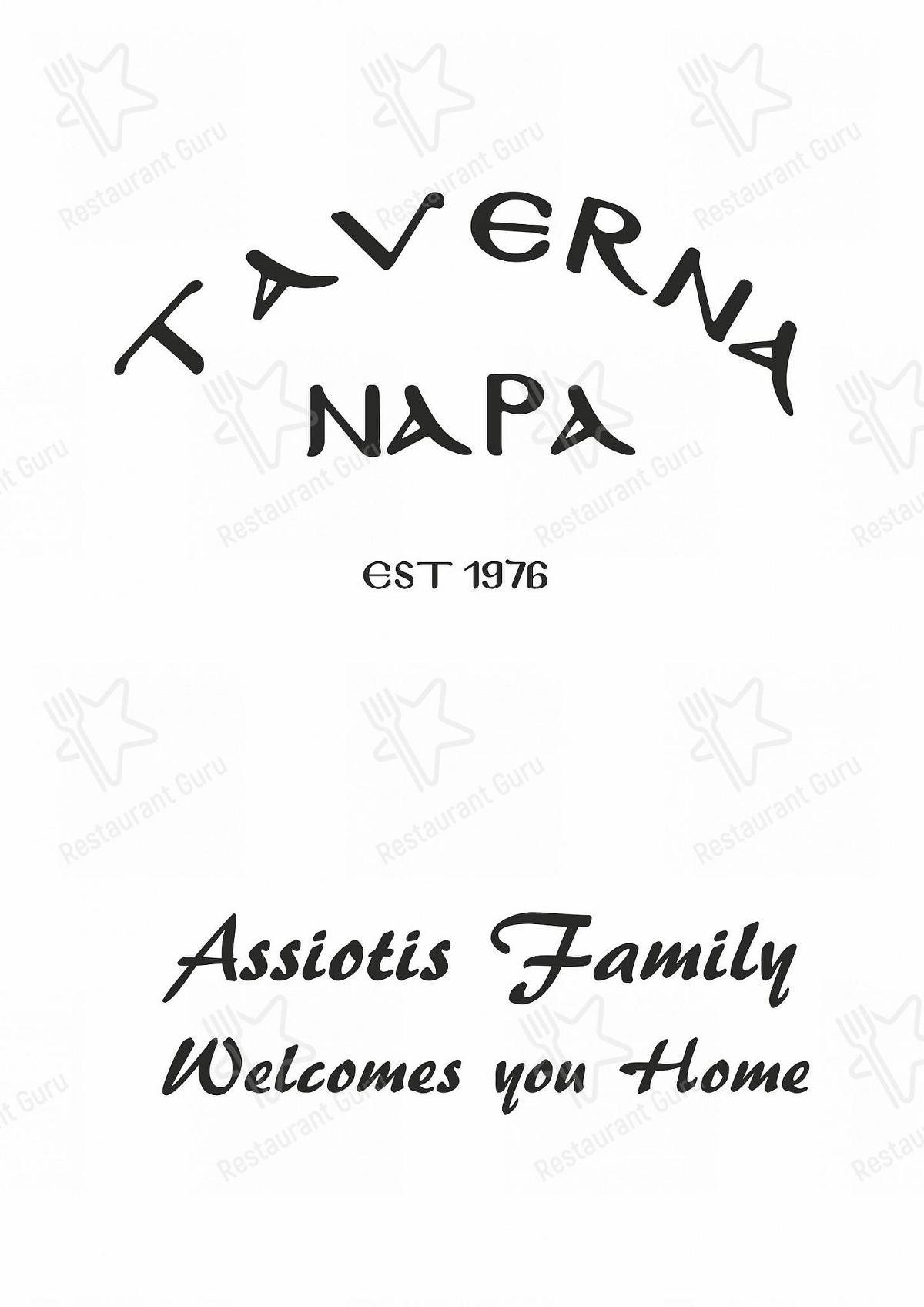 Taverna Napa menu