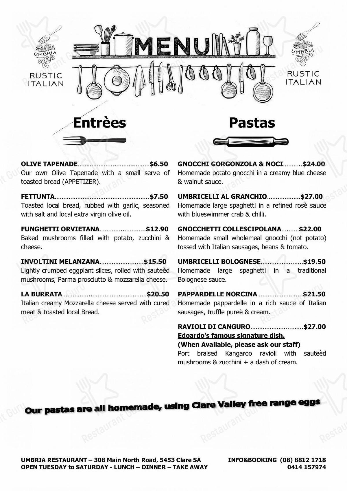 Check out the menu for UMBRIA Rustic Italian Restaurant