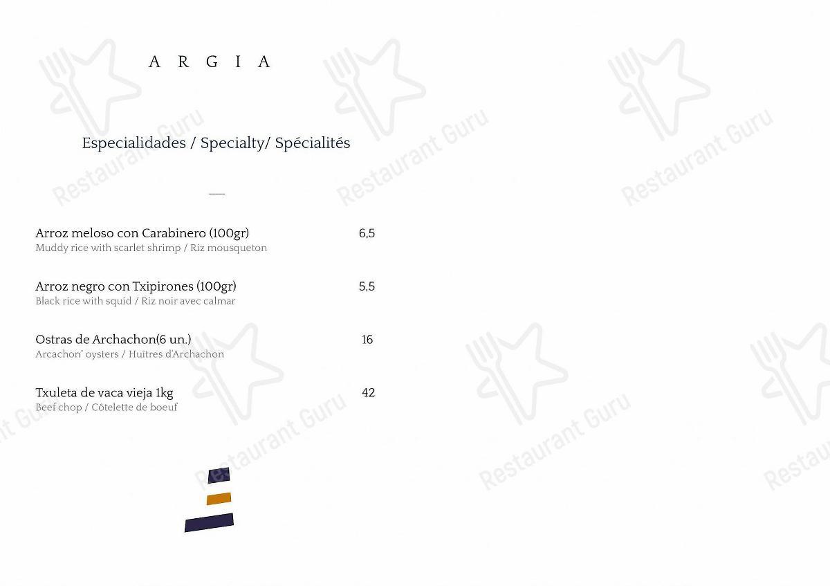Carta de Argia - platos y bebidas