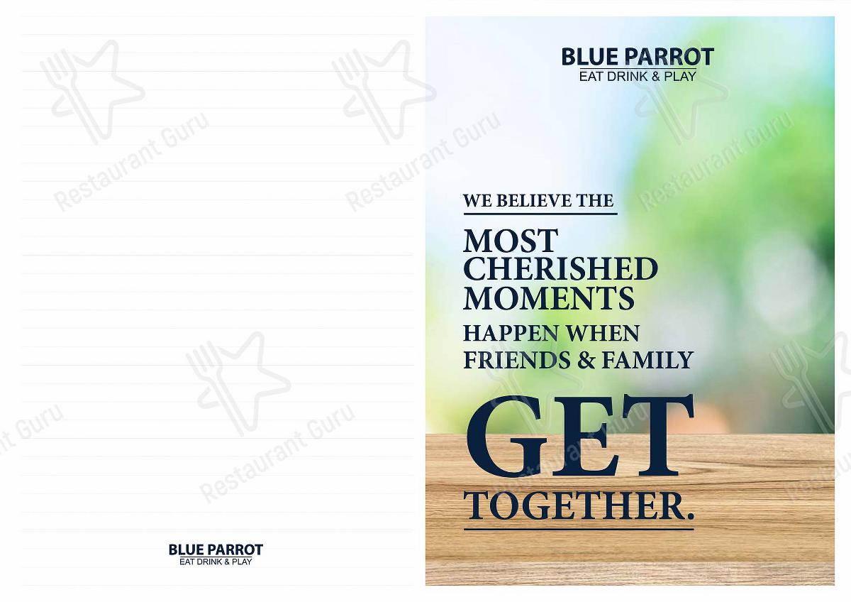 Blue Parrot menu - dishes and beverages
