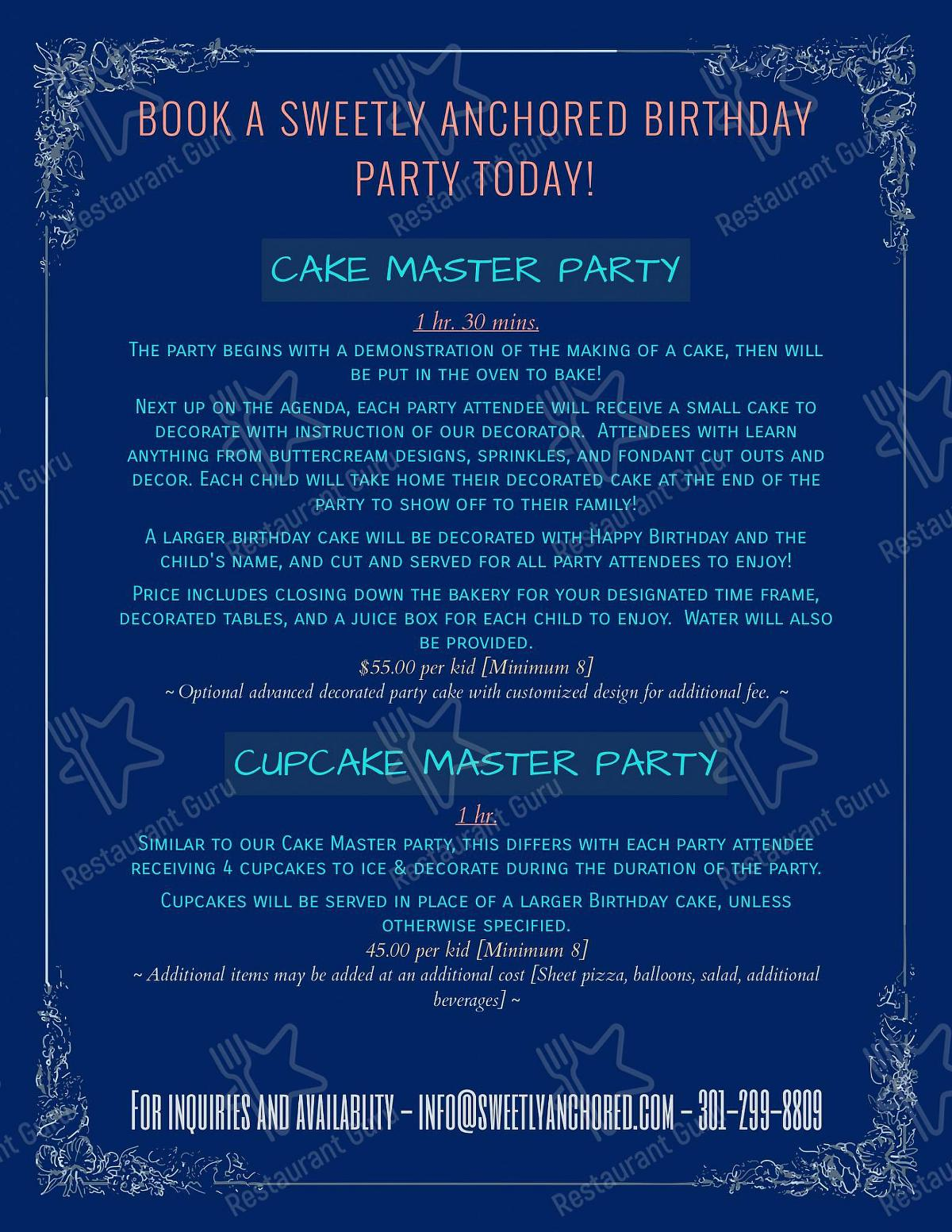 Sweetly Anchored Patisserie menu - dishes and beverages