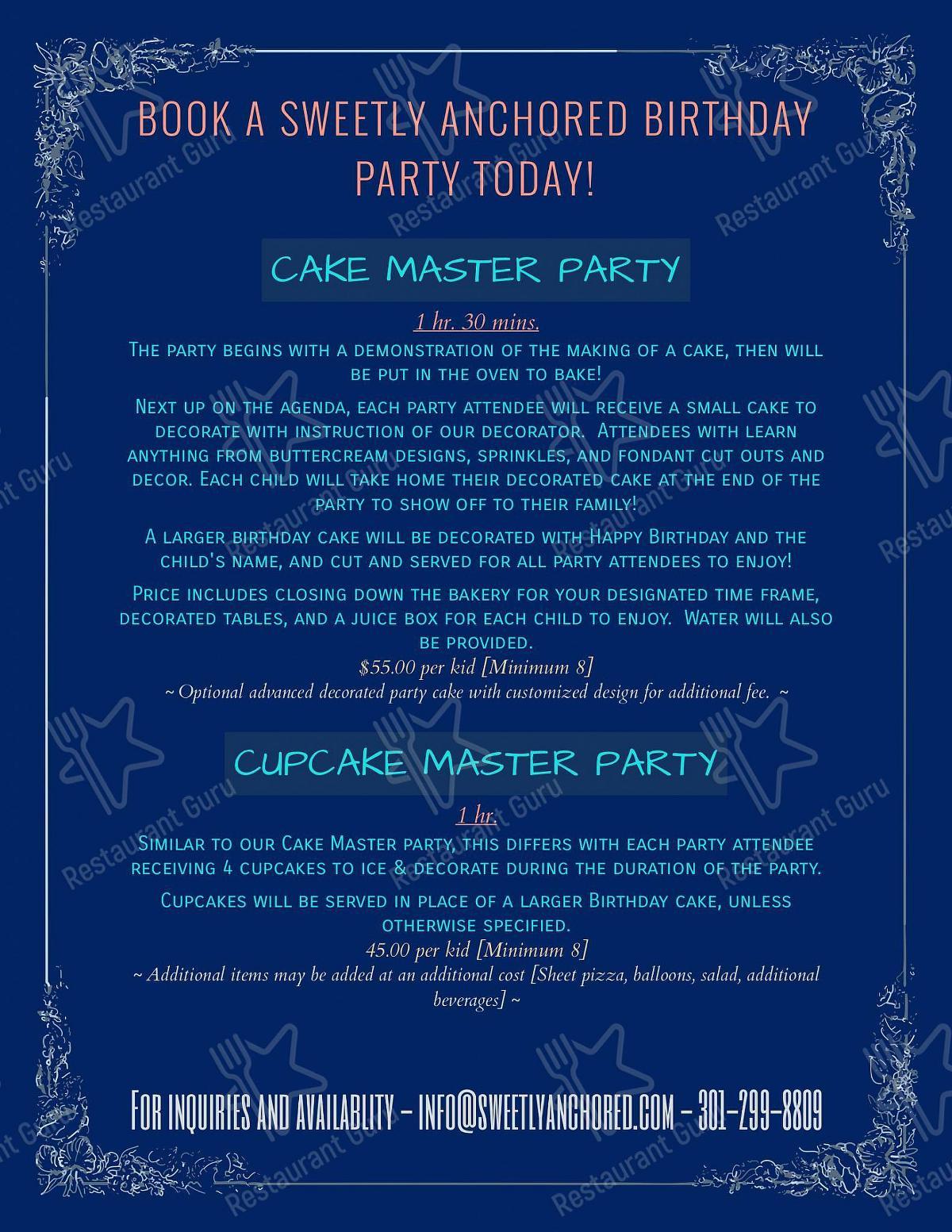 Меню Sweetly Anchored Patisserie - блюда и напитки