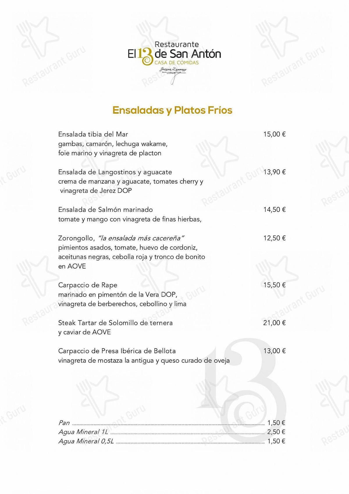 Mira la carta de Restaurante El 13 de San Antón