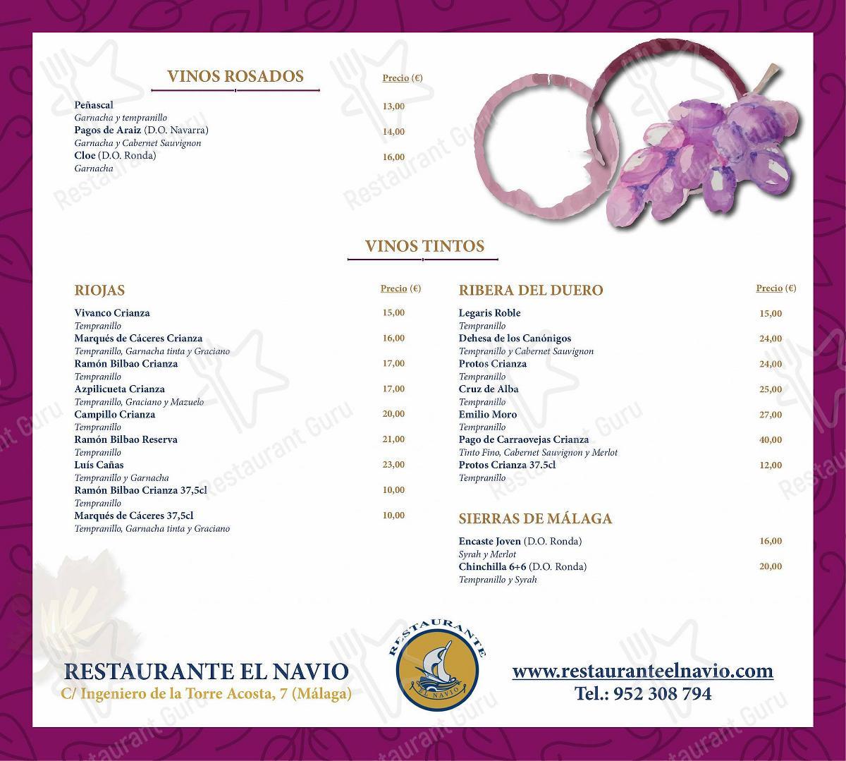 Carta de RESTAURANTE EL NAVIO - platos y bebidas