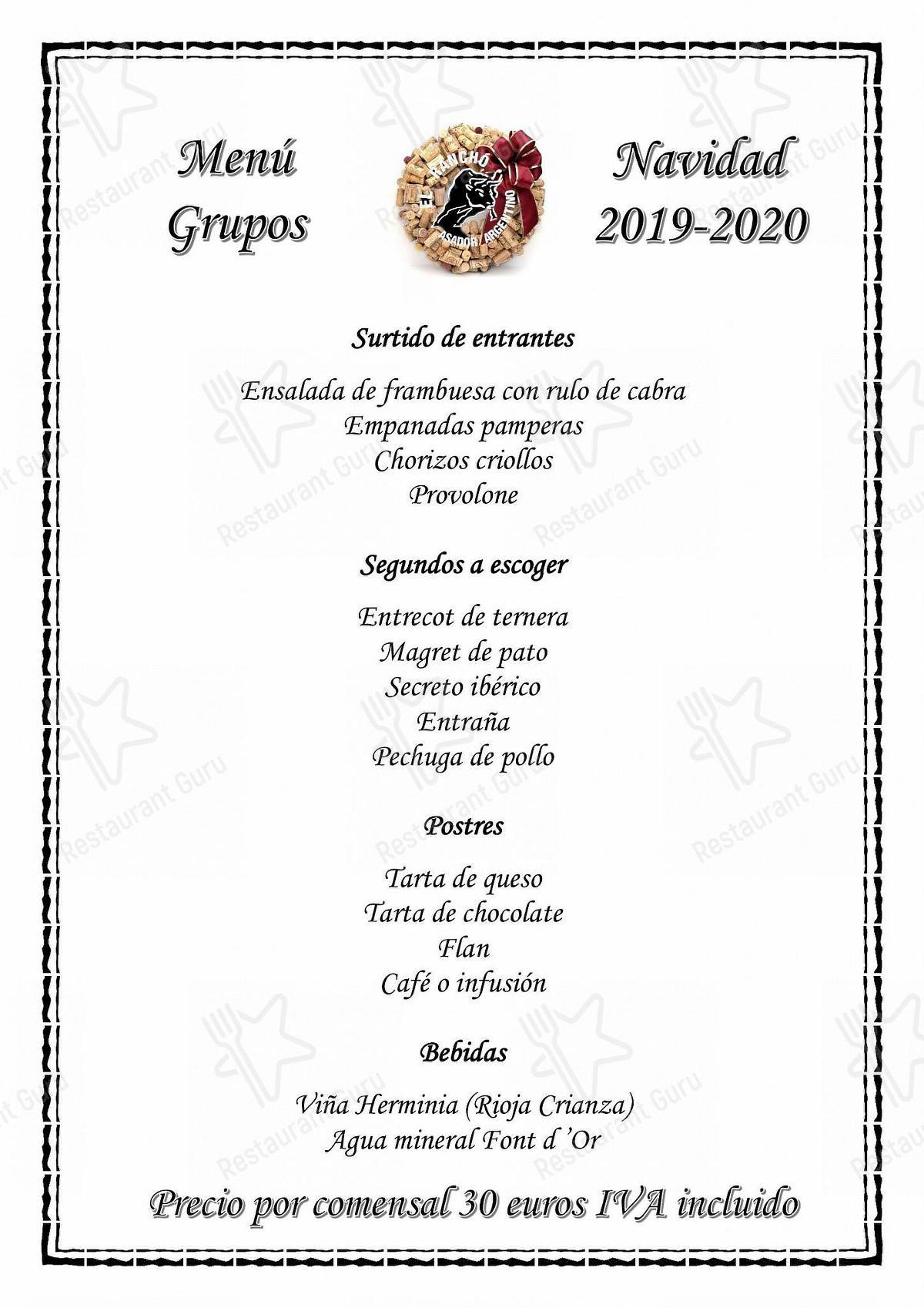 Menu for the El Rancho Asador Argentino steakhouse