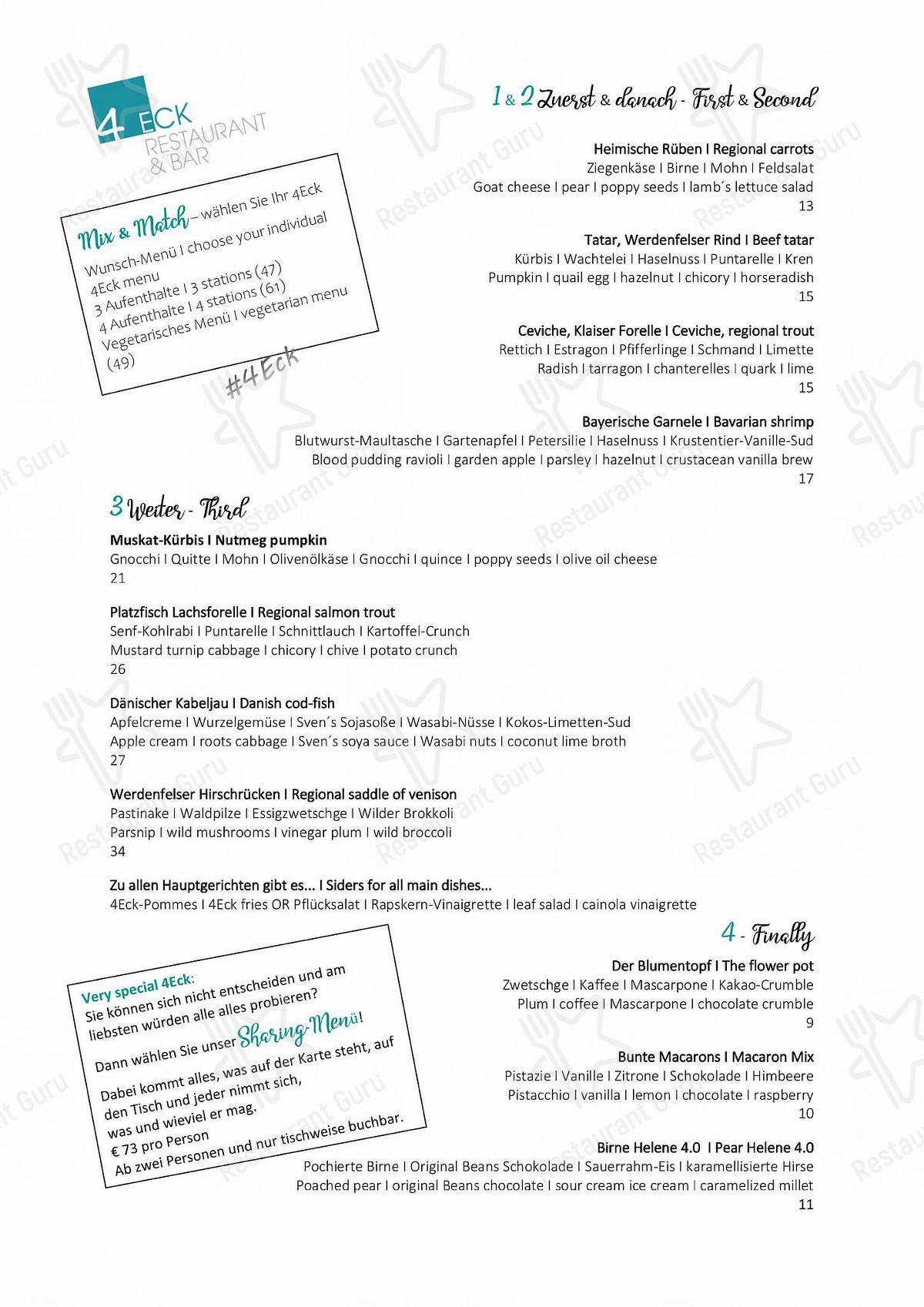 4Eck Speisekarte - Essen und Getränke
