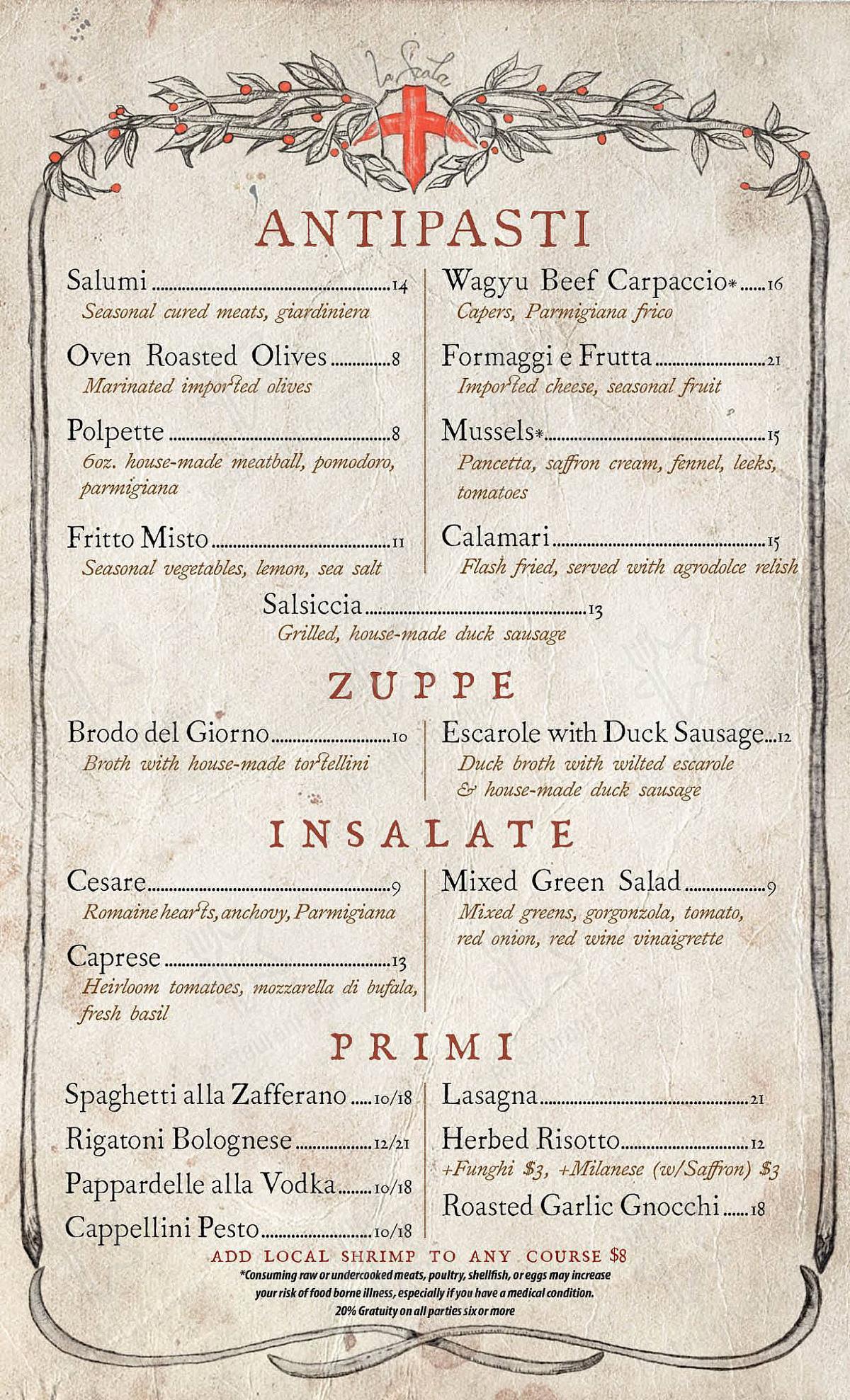 Взгляните на меню La Scala Ristorante