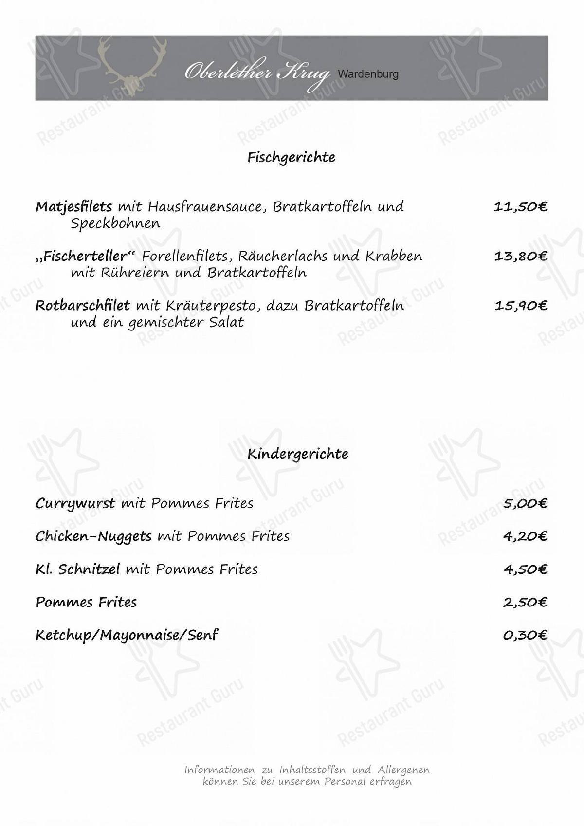 Speisekarte von Oberlether Krug restaurant