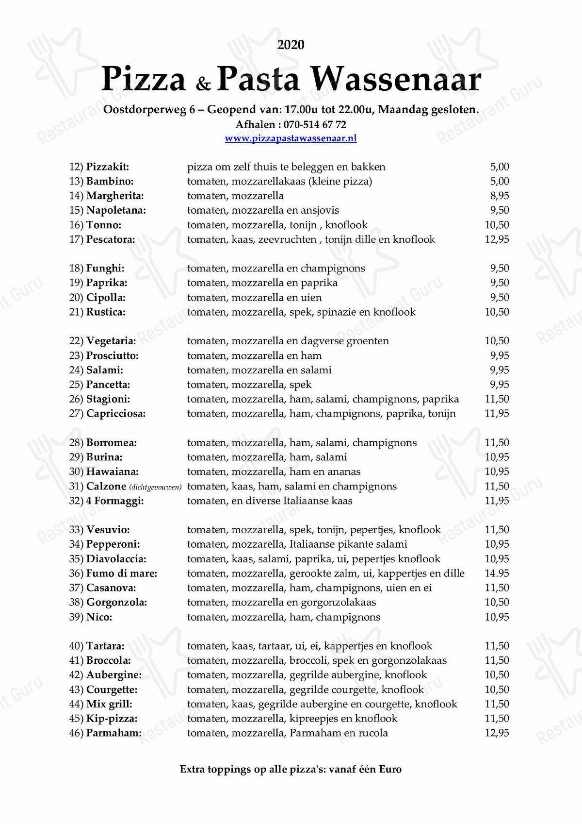 Carta de Pizza & Pasta Wassenaar