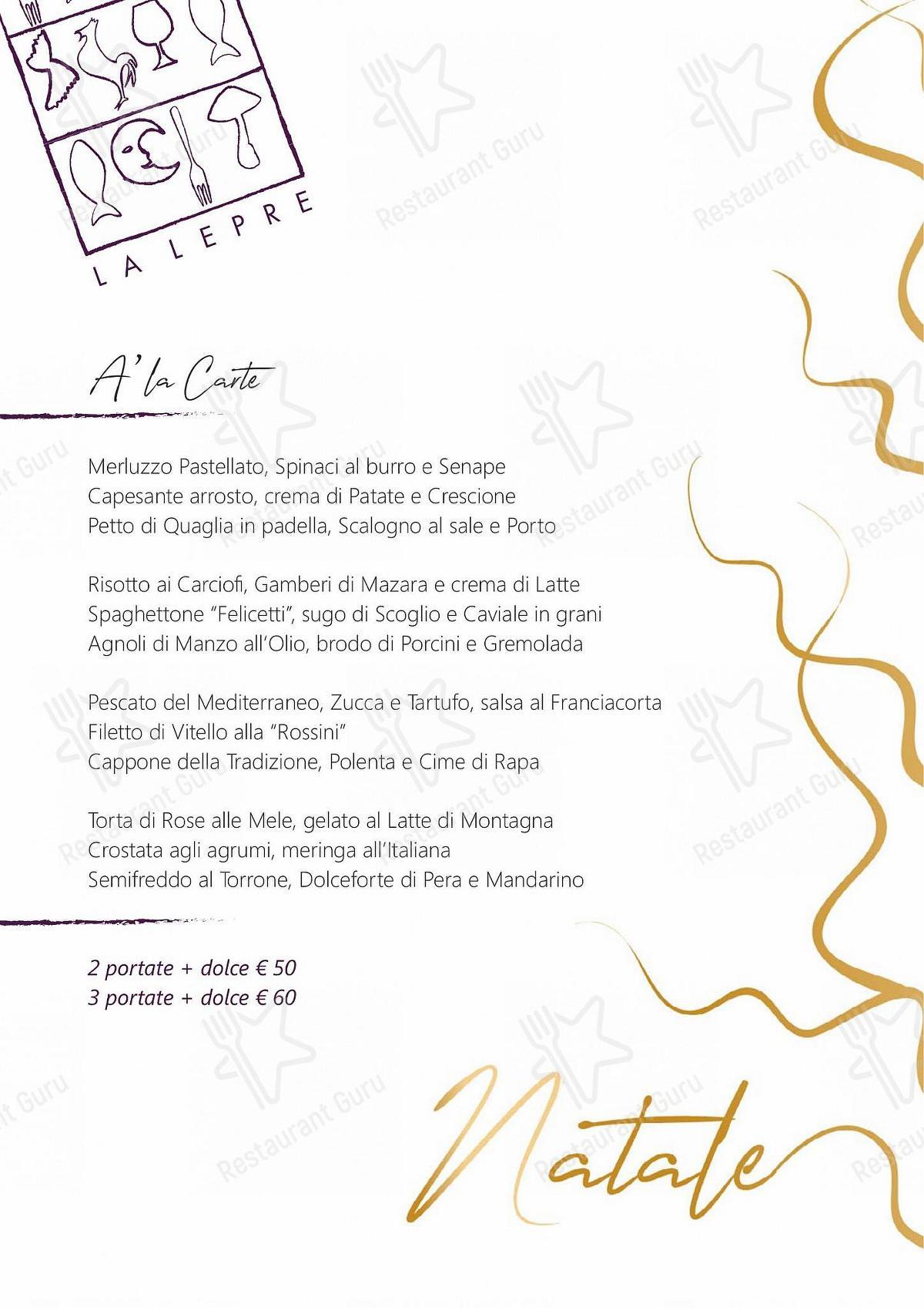 Guarda il menu di La Lepre Ristorante