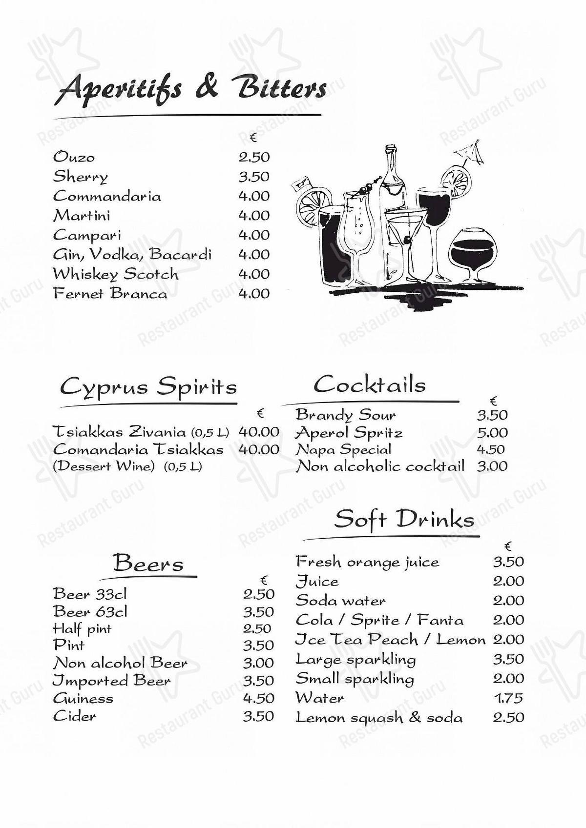 Menu for the Taverna Napa restaurant