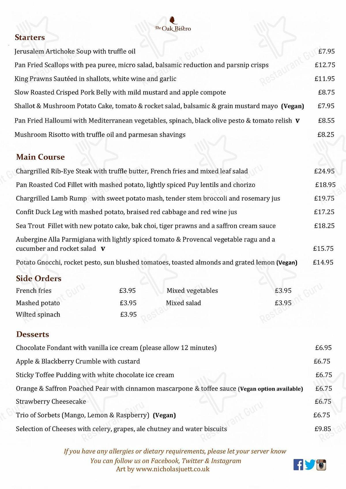 Menu for the The Oak Bistro restaurant