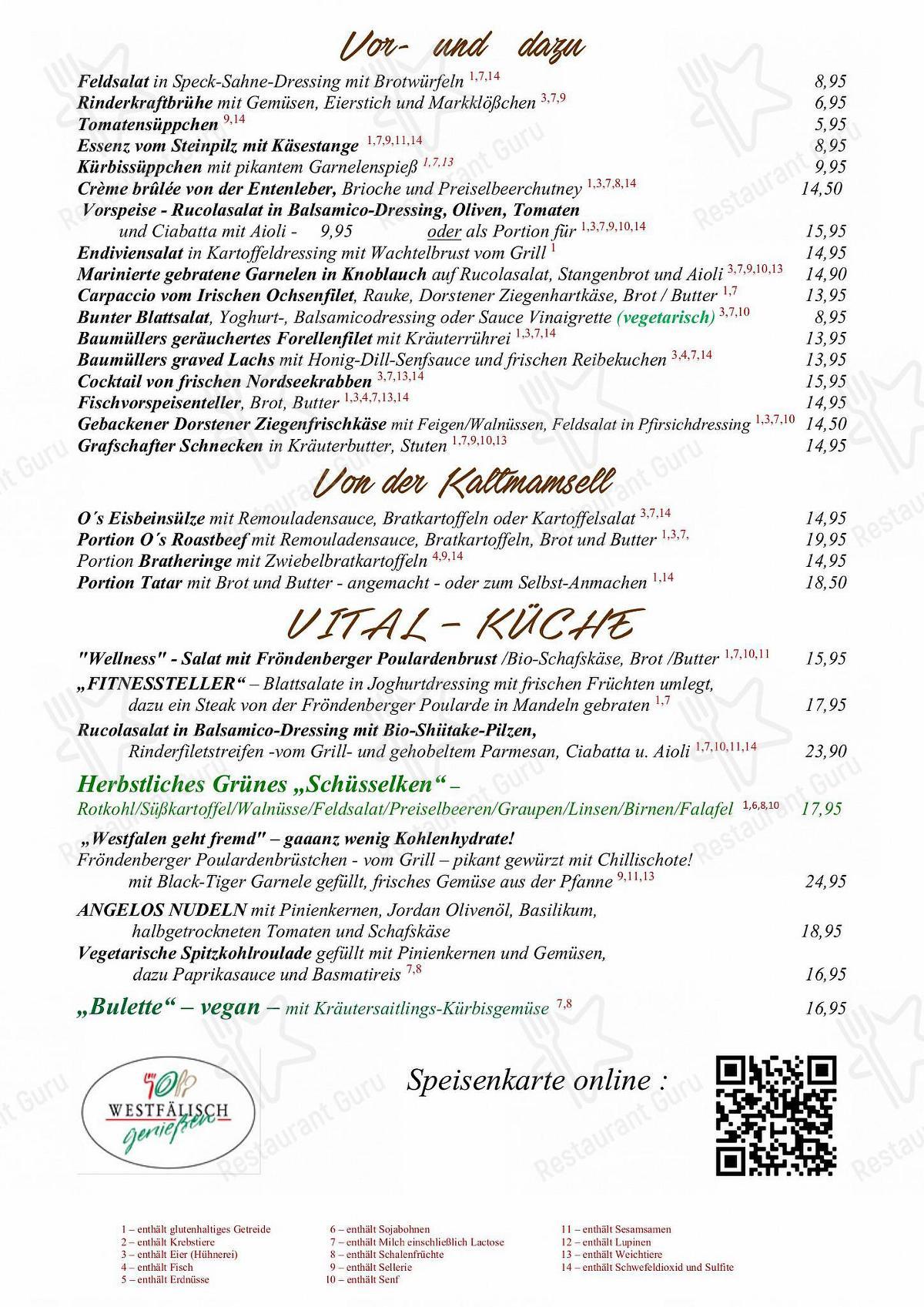 Overkamp Speisekarte - Speisekarte im Restaurant