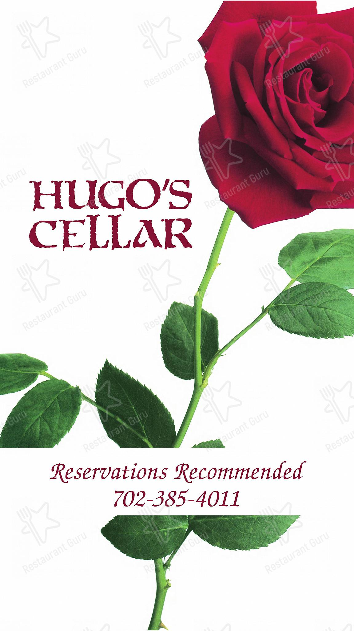 Carta de Hugo's Cellar restaurante