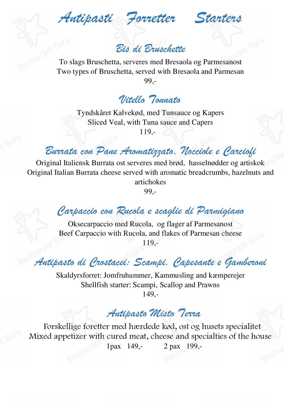 Check out the menu for La Dolce Vita
