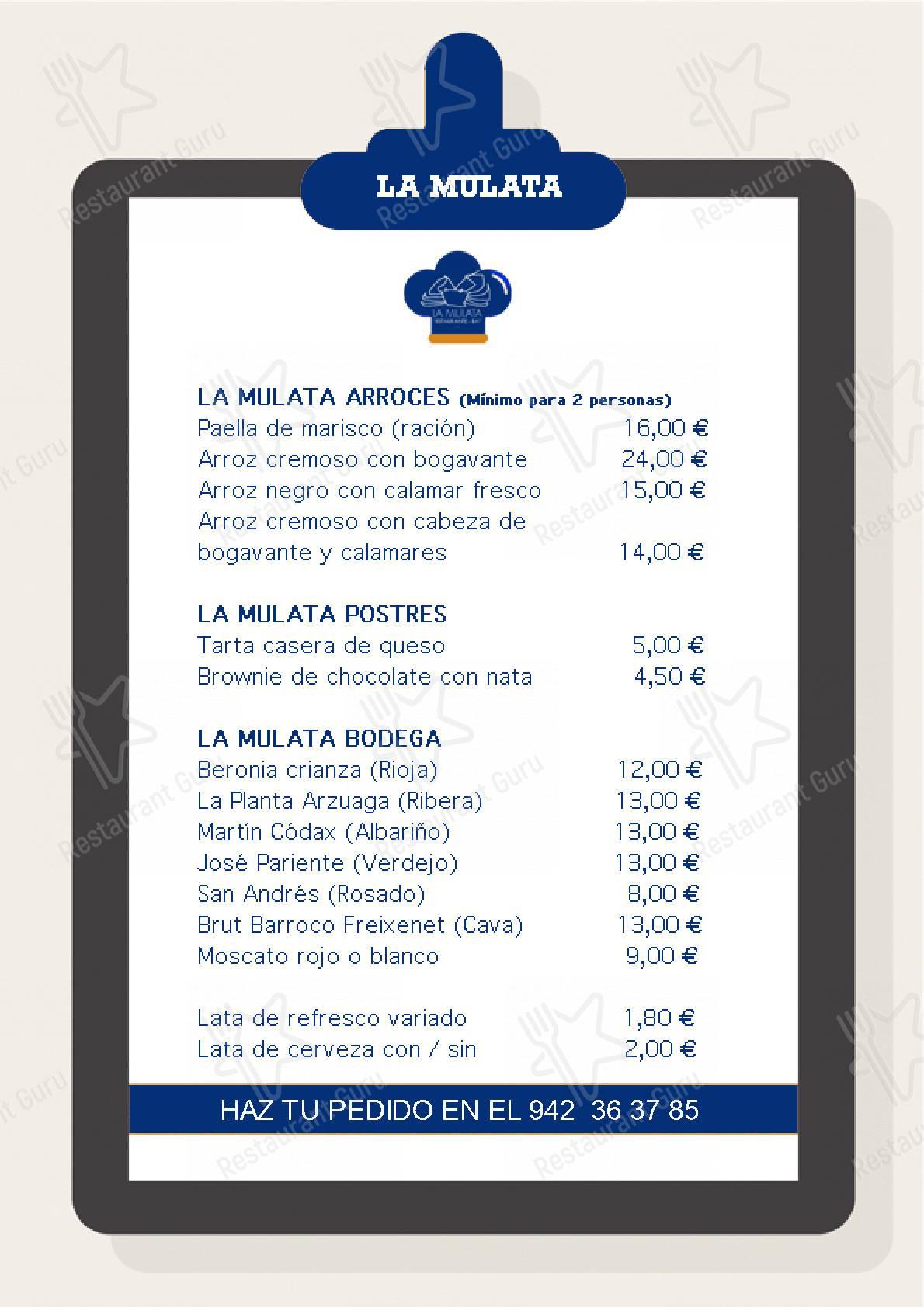 La Mulata menu - dishes and beverages