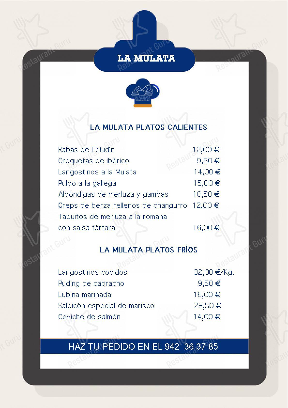 La Mulata menu