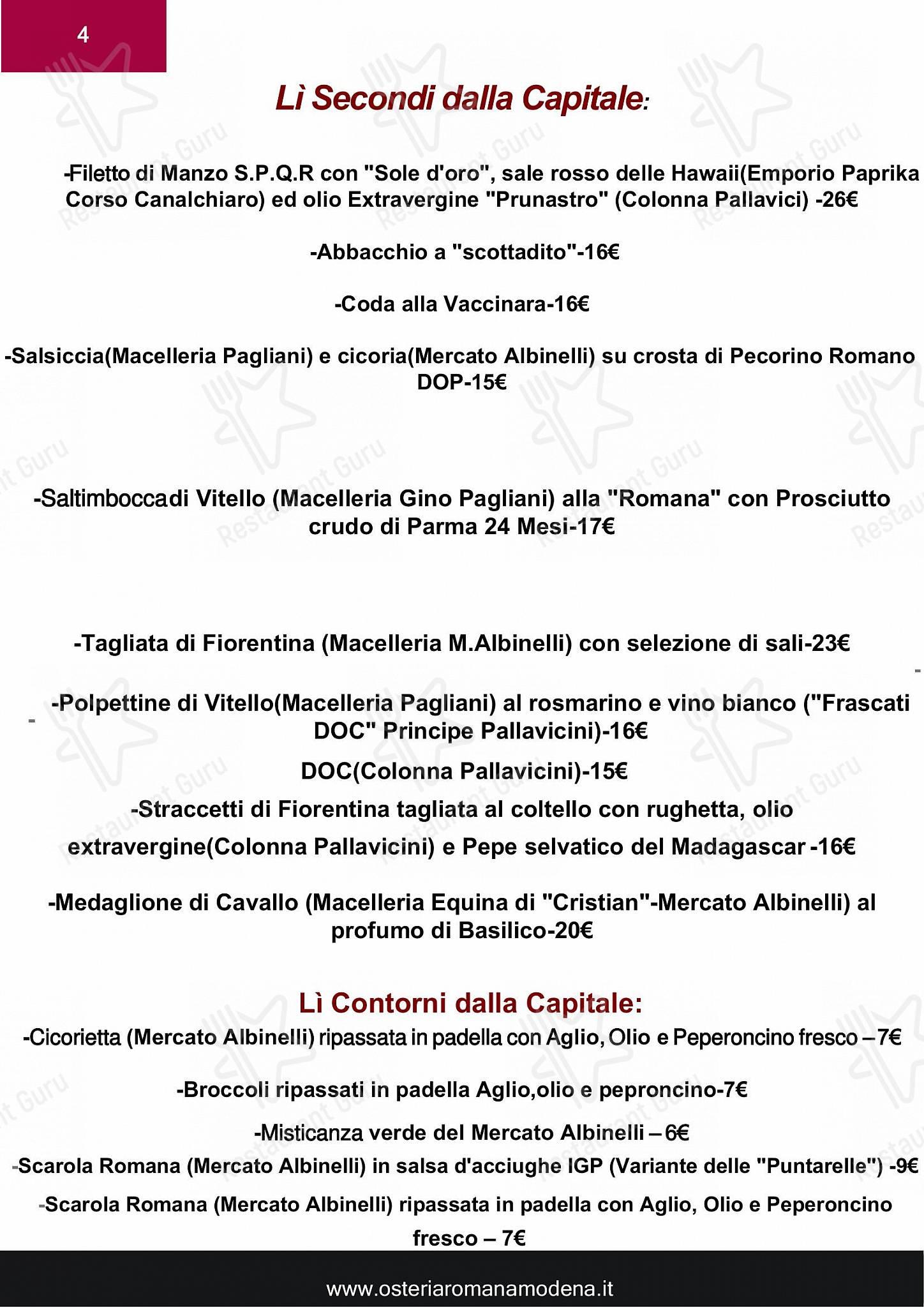 Speisekarte von Osteria Romana restaurant, Modena