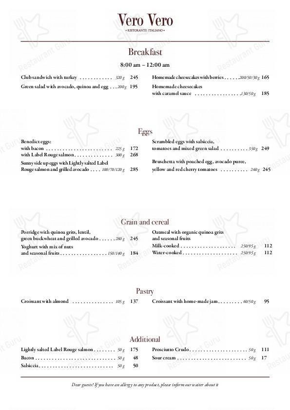 Vero Vero menu - dishes and beverages