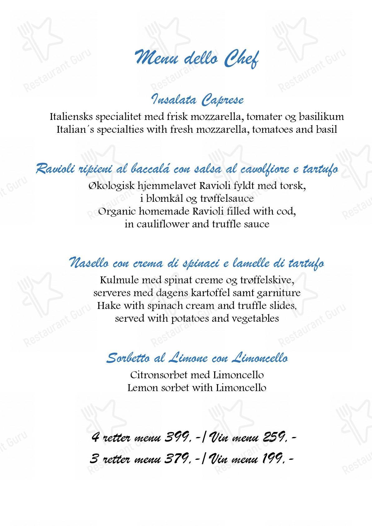 La Dolce Vita menu - meals and drinks