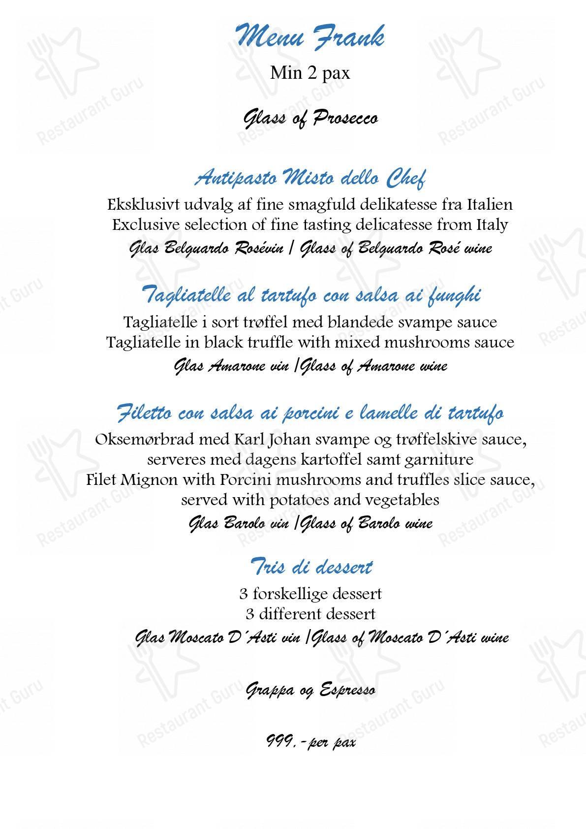 La Dolce Vita menu - dishes and beverages