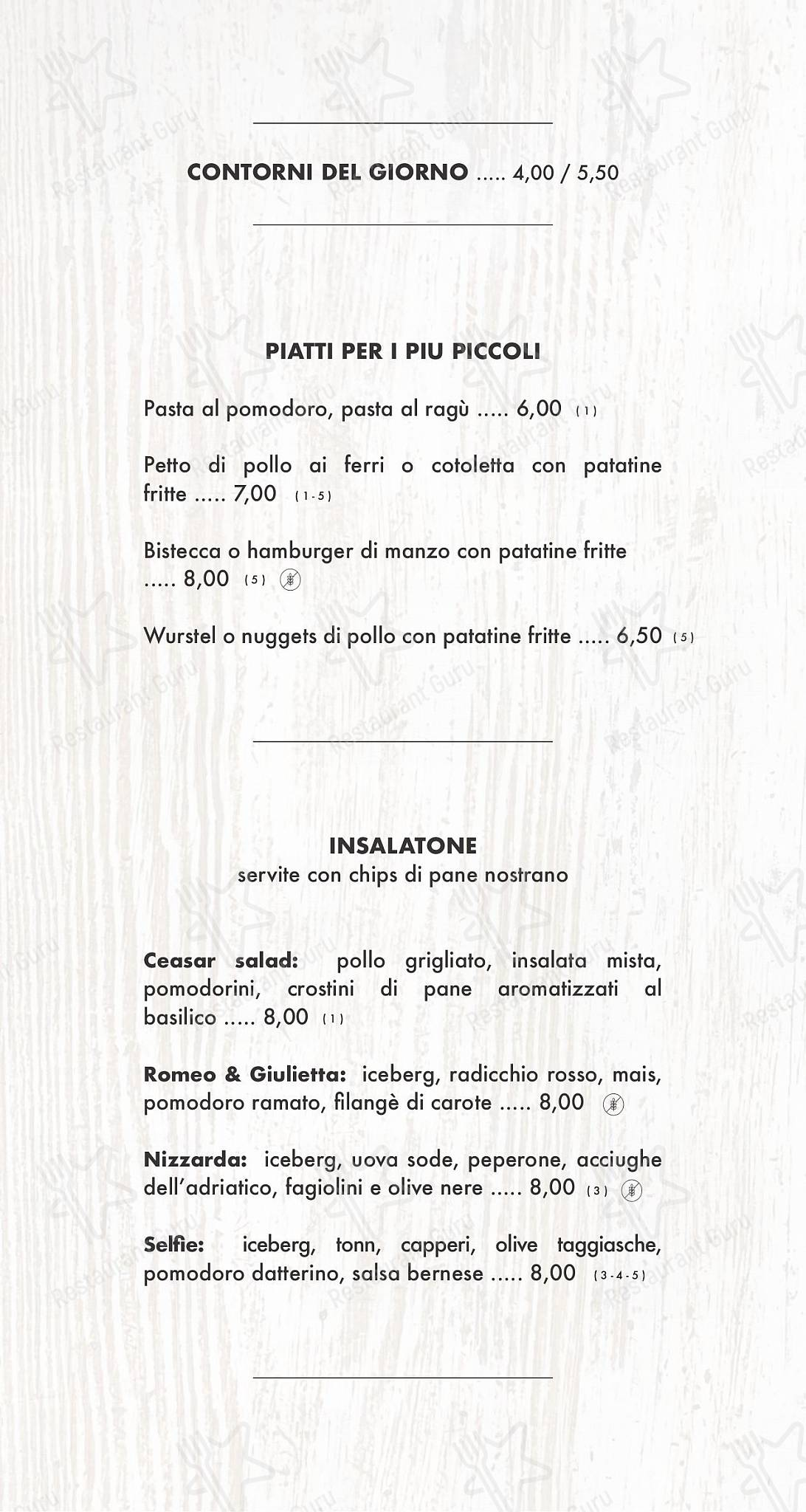 Меню Selfie social pizza & restaurant - еда и напитки
